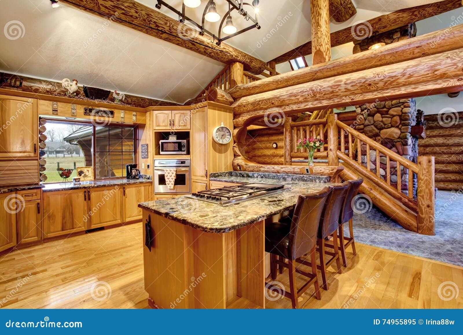 Design De Interiores Da Cozinha Da Cabana R Stica De Madeira Com Os