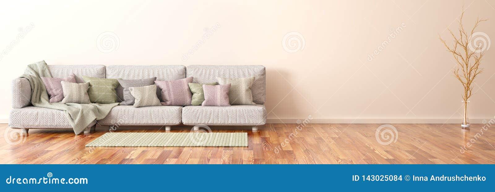 Design de interiores da sala de visitas moderna com sofá, rendição 3d