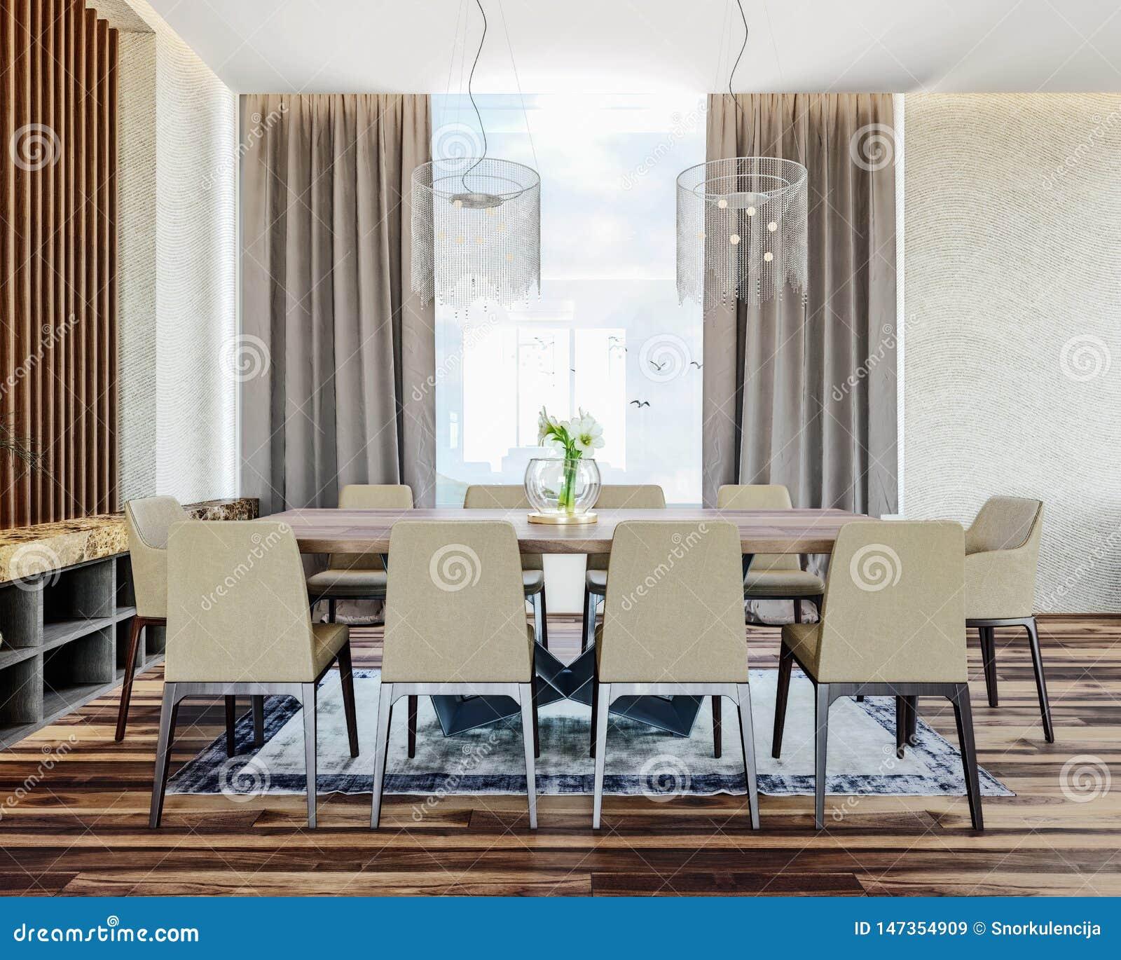 Design de interiores italiano moderno da sala de jantar contempor?nea com vista bonita no campo, montanha no fundo