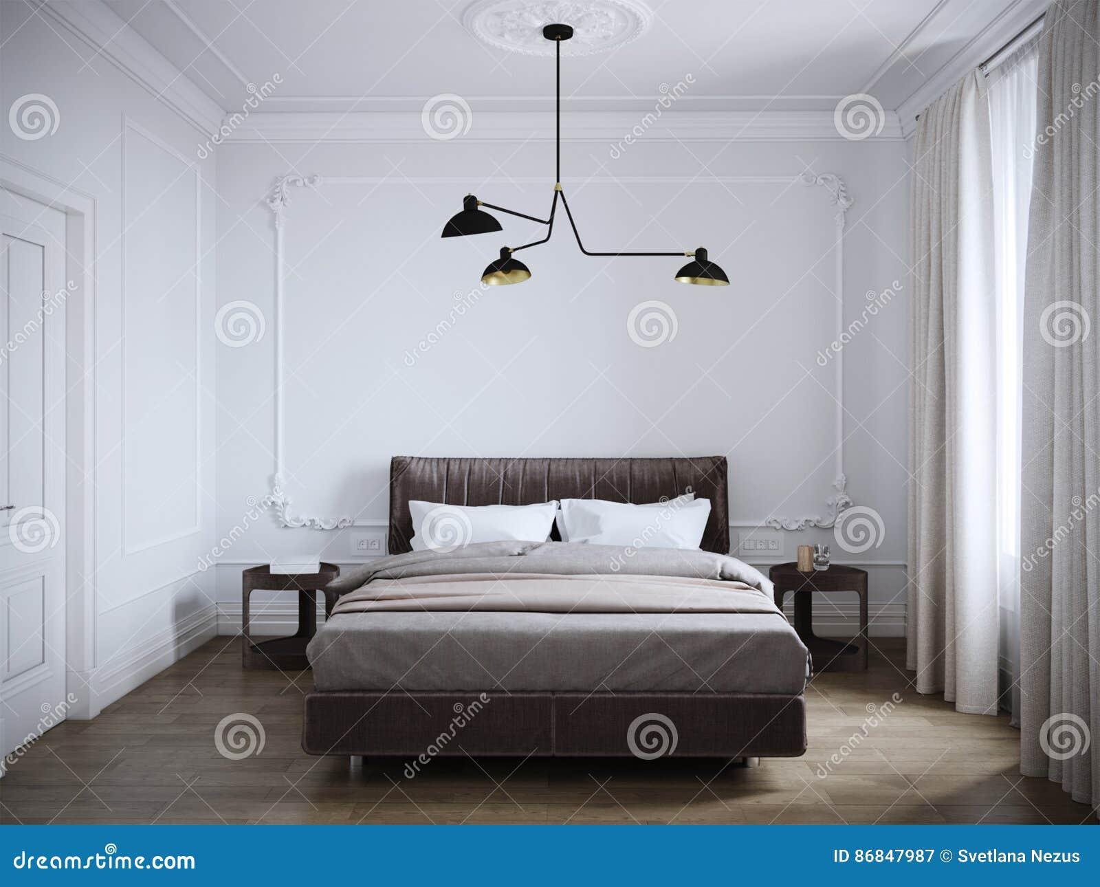 Design de interiores moderno brilhante e acolhedor do quarto com paredes brancas,