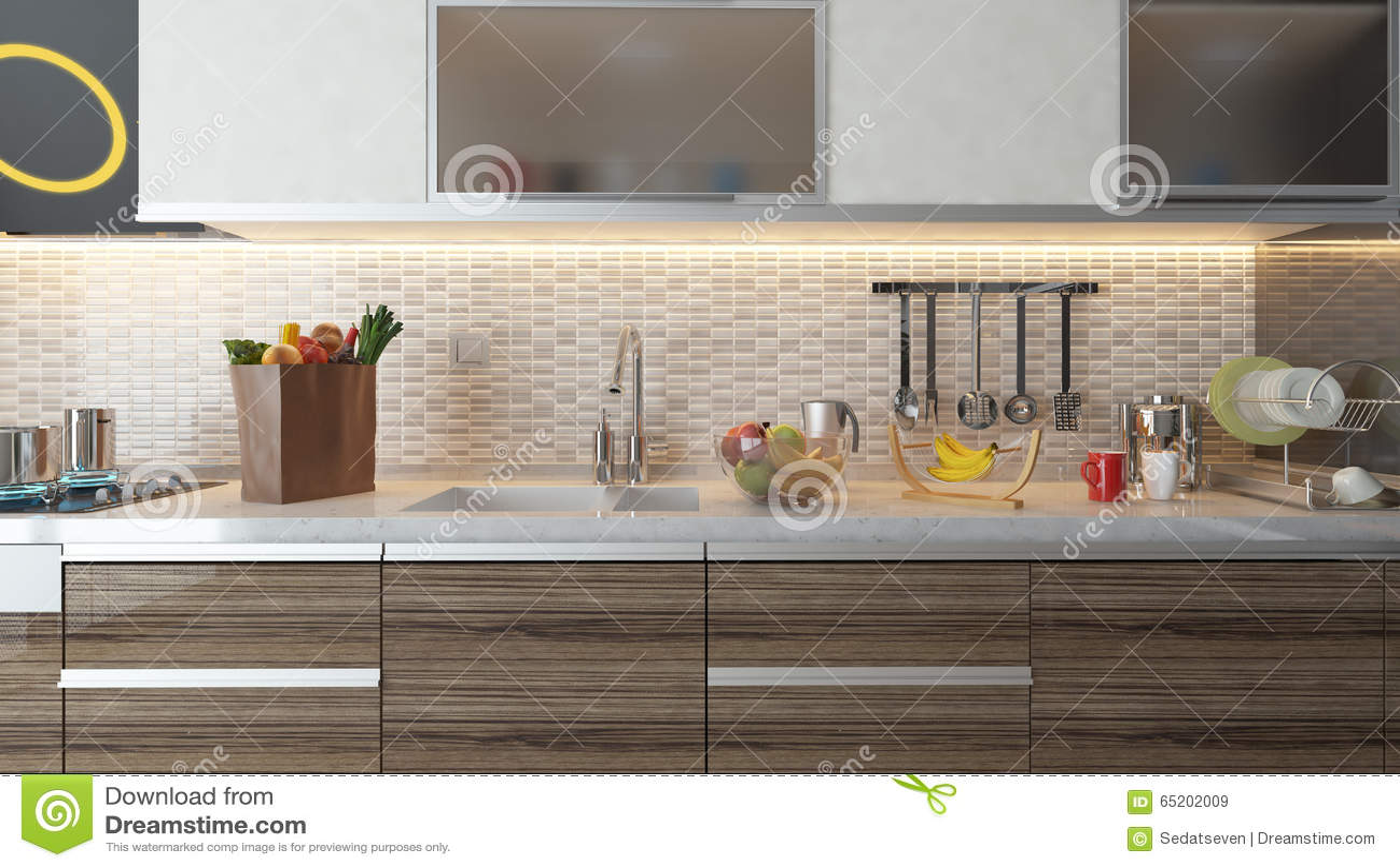 Design De Interiores Moderno Da Cozinha Com A Parede Cer Mica Branca
