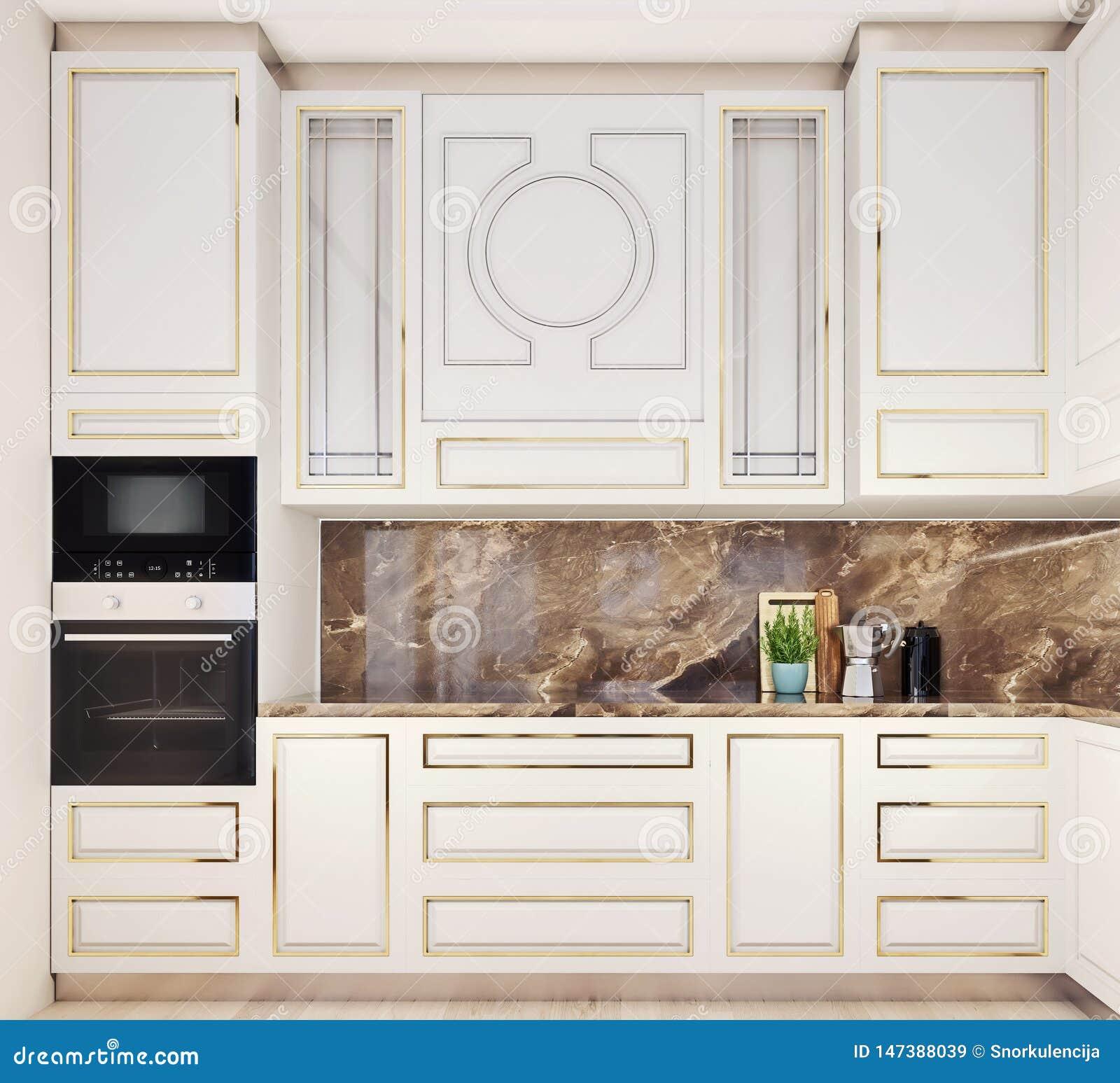 Design de interiores moderno da cozinha, vista dianteira, close-up, à moda e elegante