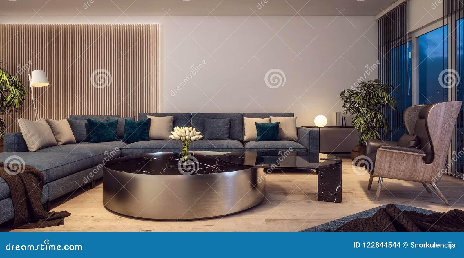 Design de interiores moderno da sala de visitas italiana do estilo, cena da noite