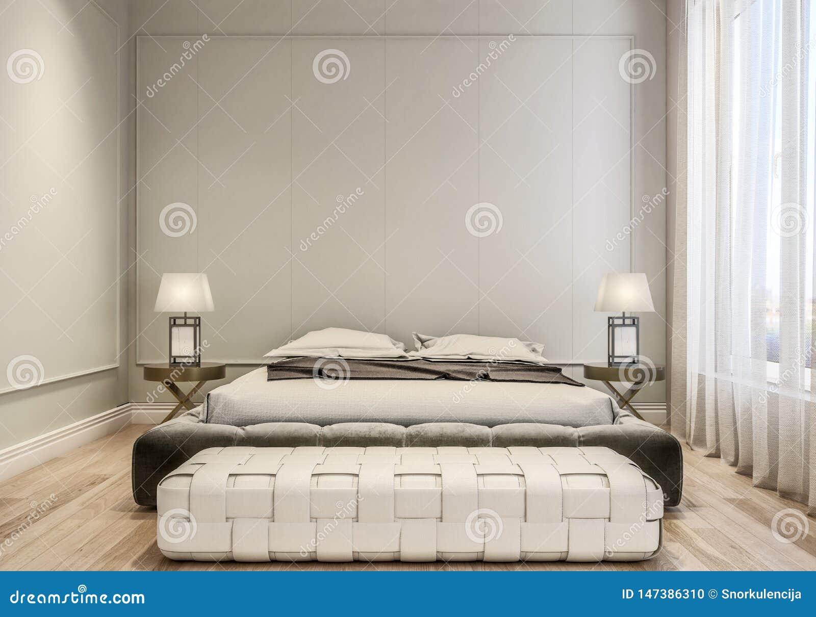 Design de interiores moderno do quarto principal, da cama enorme com folhas de cama, do revestimento de madeira e de paredes cinz