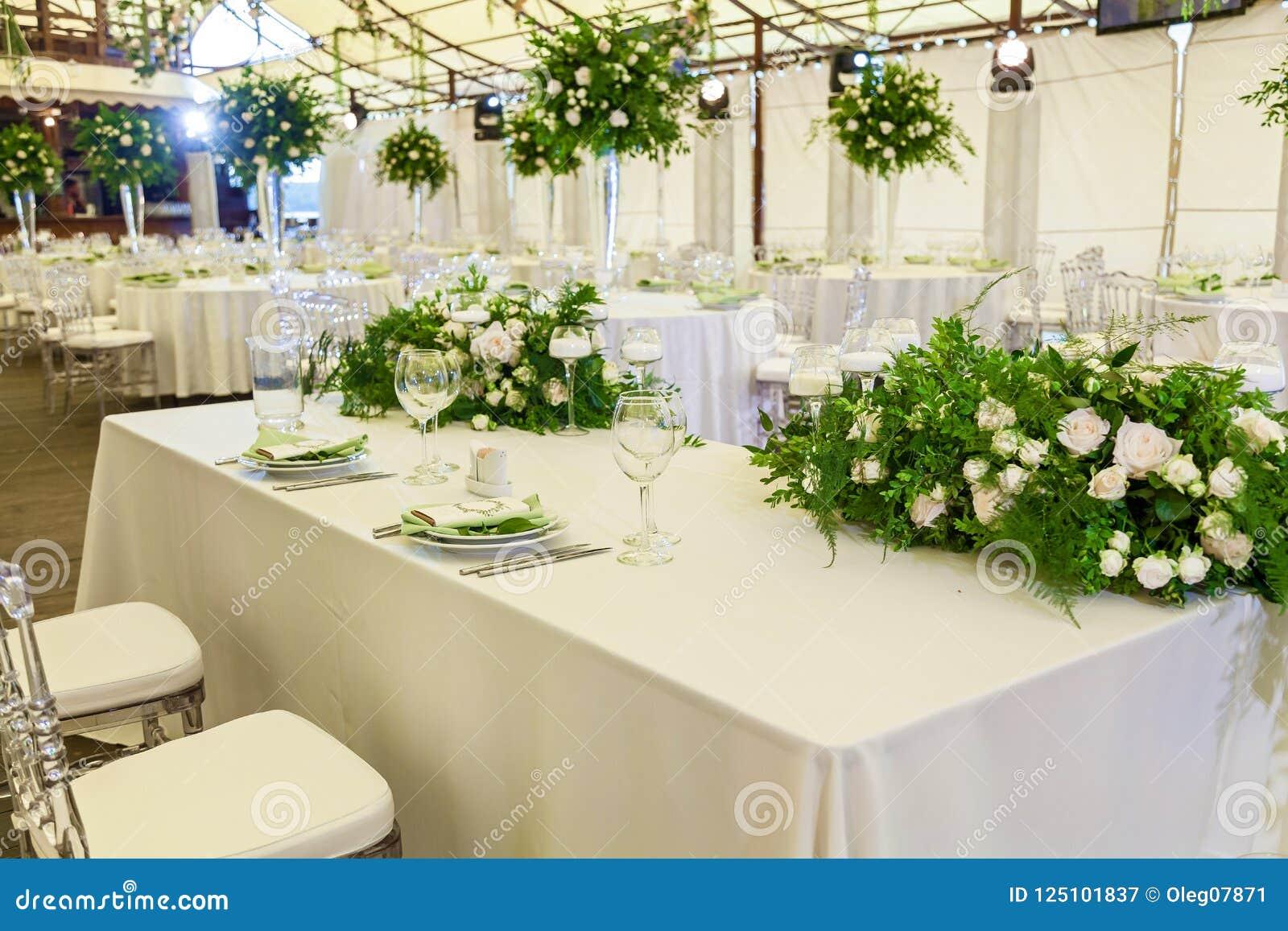 Decorating Flowers With A Wedding Celebration Stock Image Image