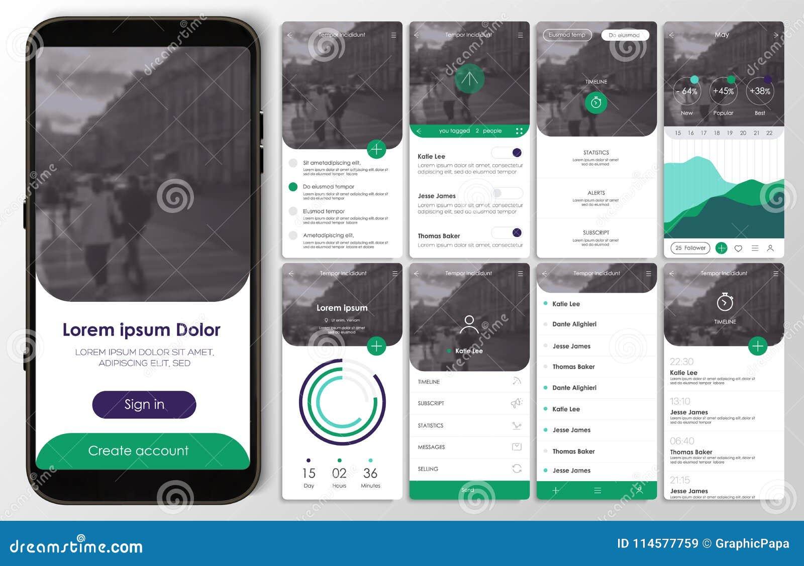 Design der beweglichen Anwendung, UI, UX, GUI