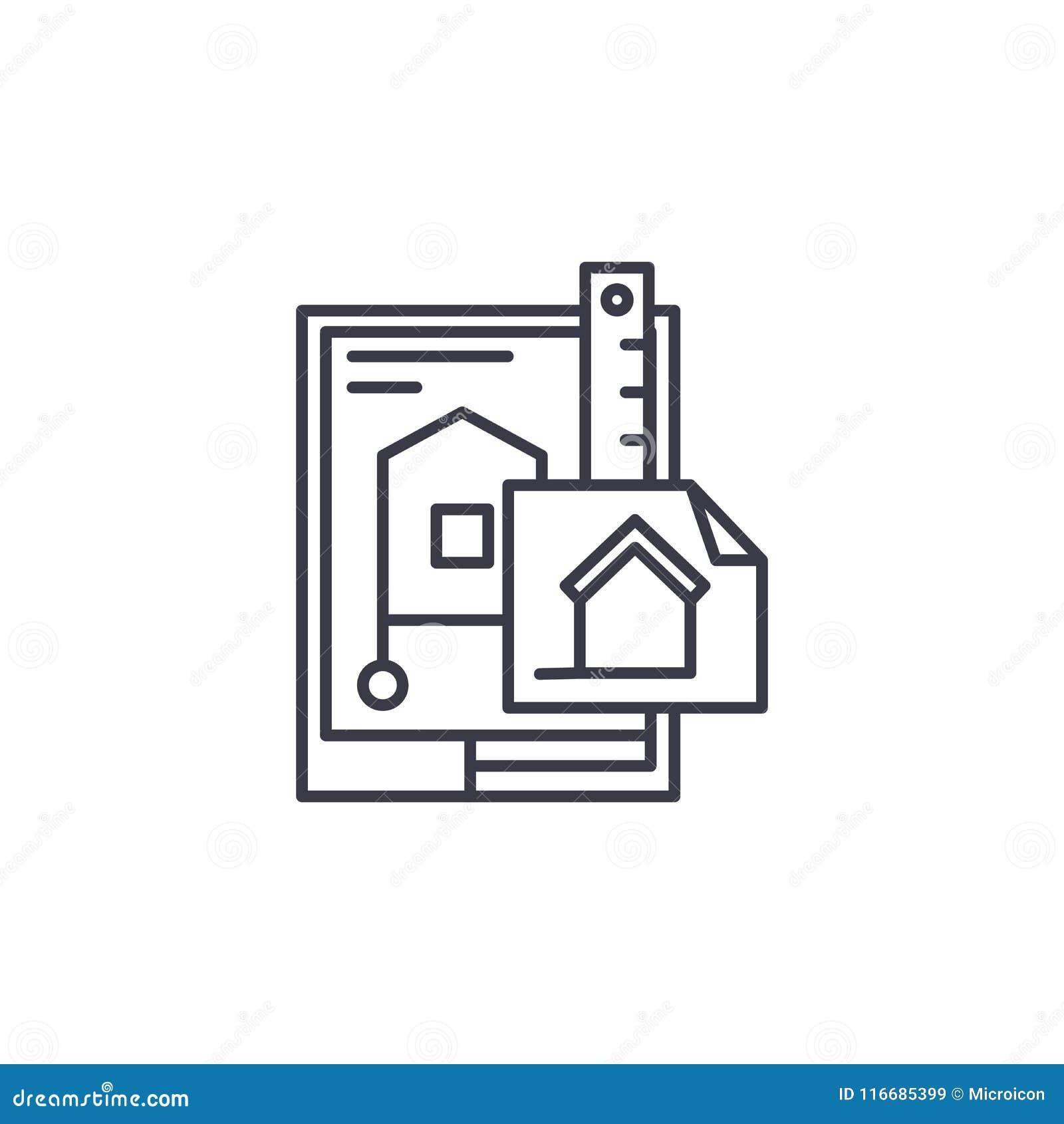 Design des linearen Ikonenkonzeptes des Gebäudes Design der Baulinie Vektorzeichen, Symbol, Illustration