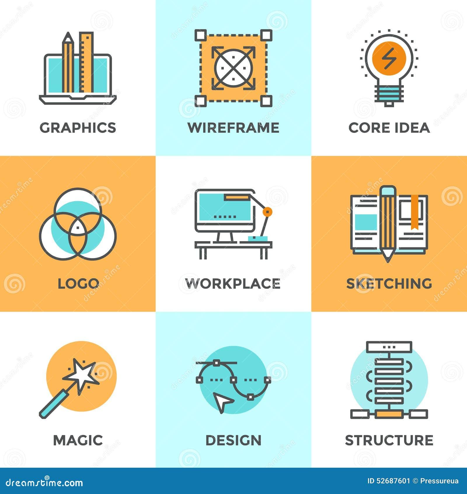 business development skills flat icons set stock vector image design development line icons set stock image
