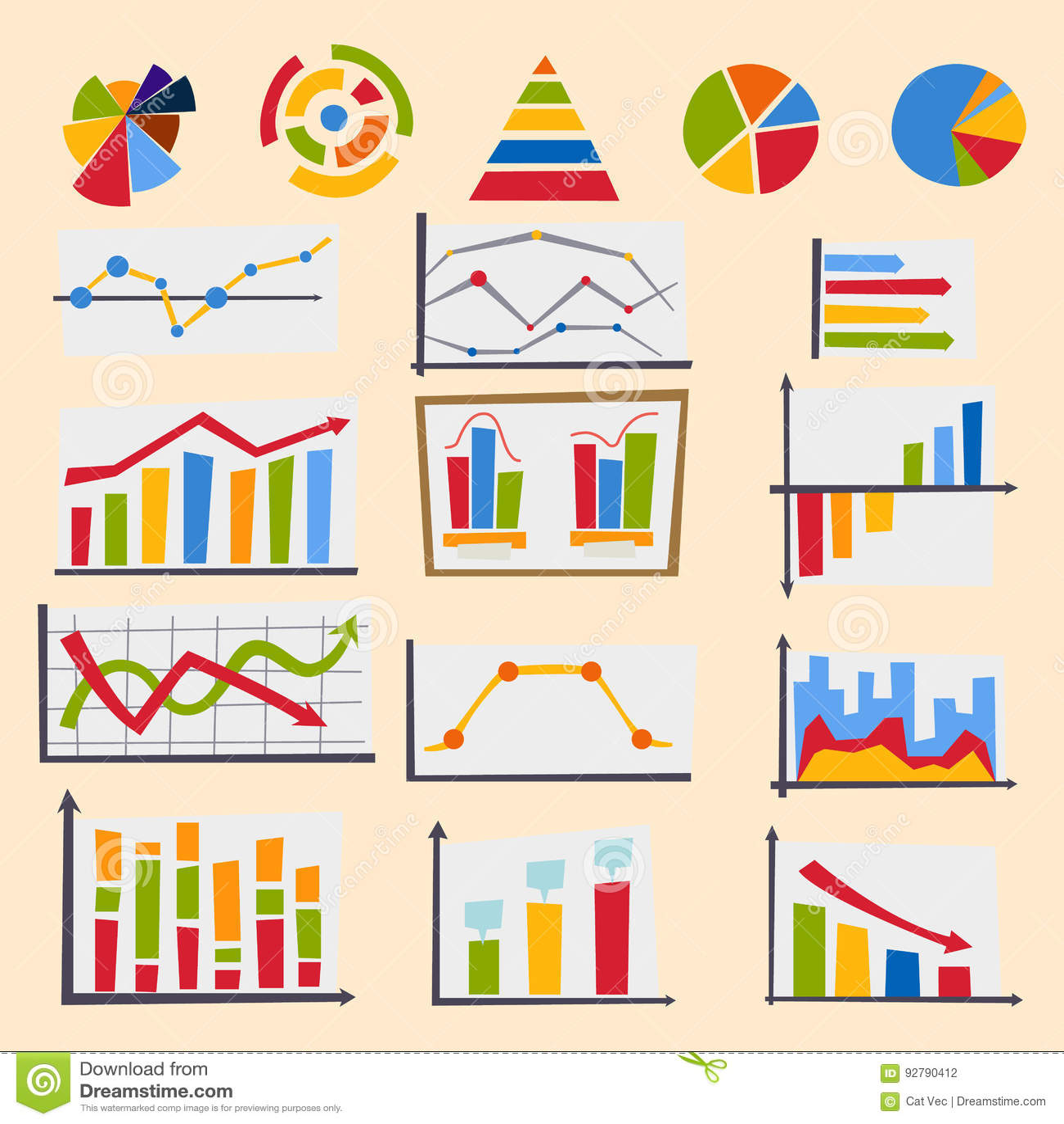 Design diagram chart elements vector illustration of business flow sheet graph infographics data template