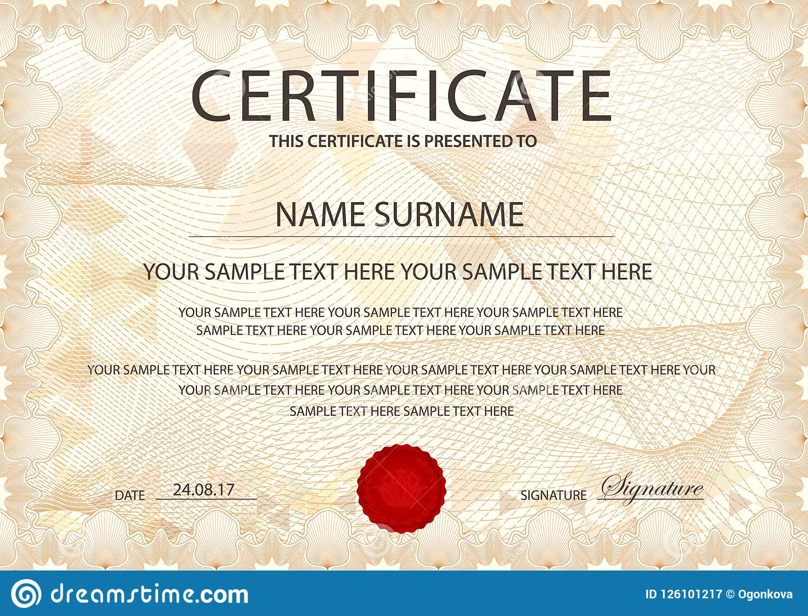 certificate template with guilloche pattern frame border stock