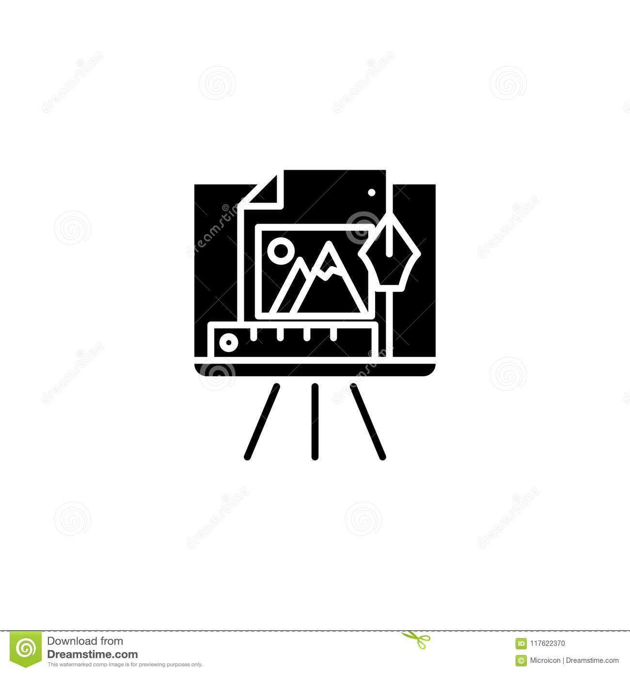 Design drawings black icon concept. Design drawings flat vector symbol, sign, illustration.