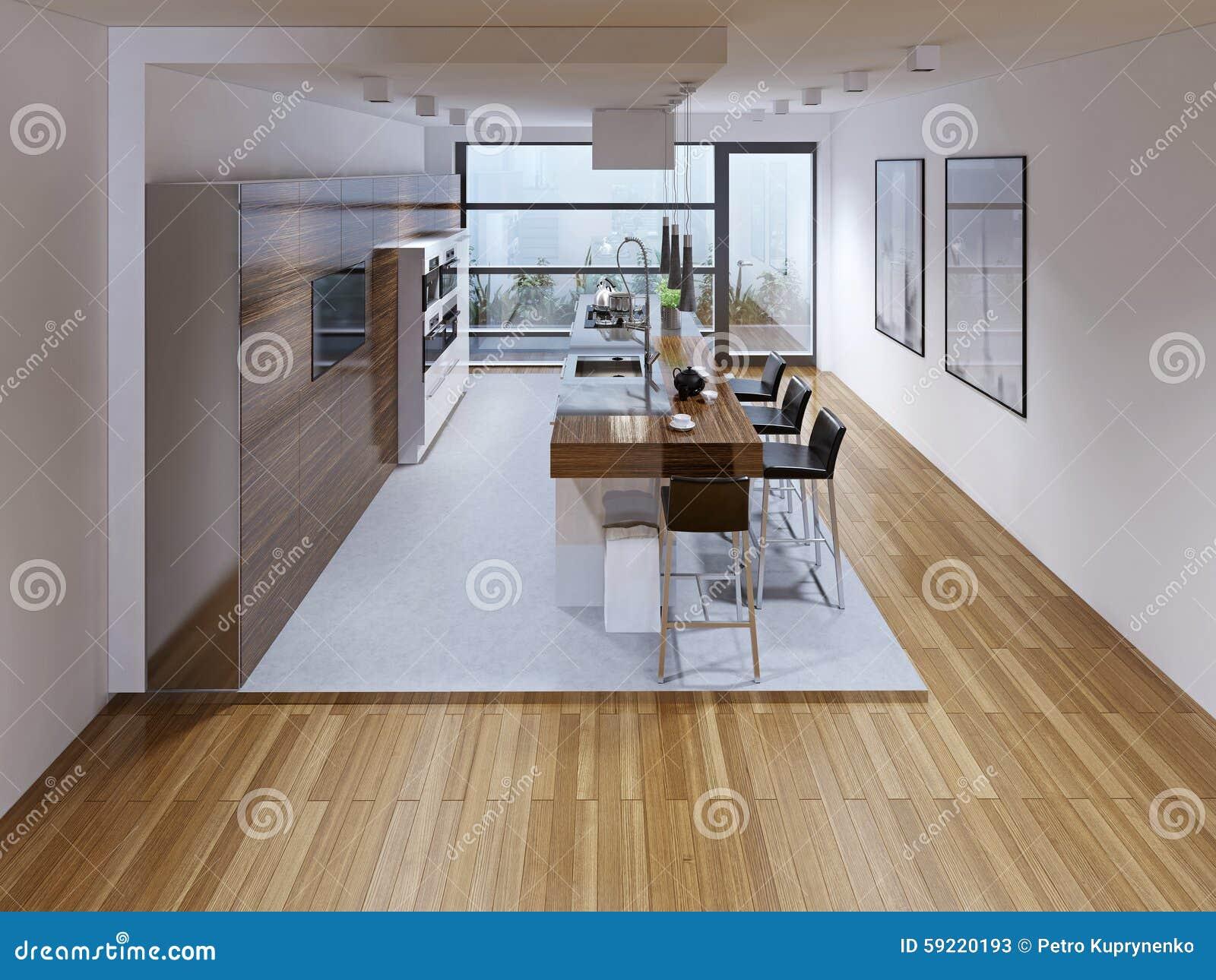 Design Fußboden Für Küche ~ Design einer modernen küche mit insel stockbild bild von