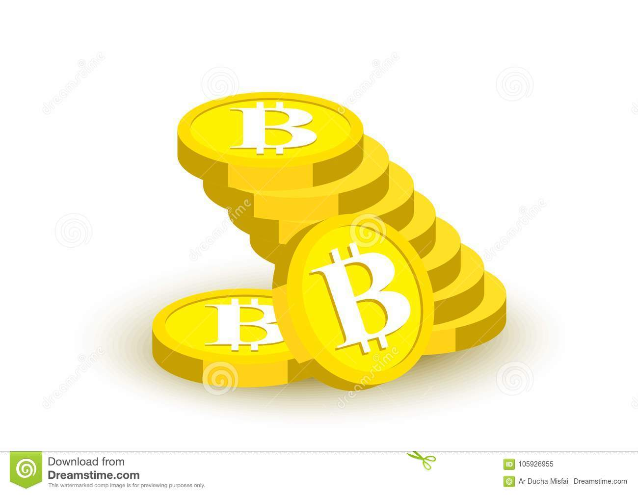 Bitcoin Collection Symbol Gold Coin Illustration Banking Stock Stock