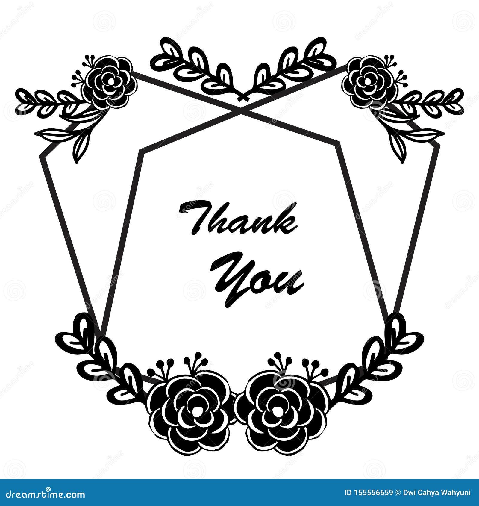 Design Element Floral Frame Background Black White For Card Thank You Vector Stock Vector Illustration Of Drawn Gift 155556659