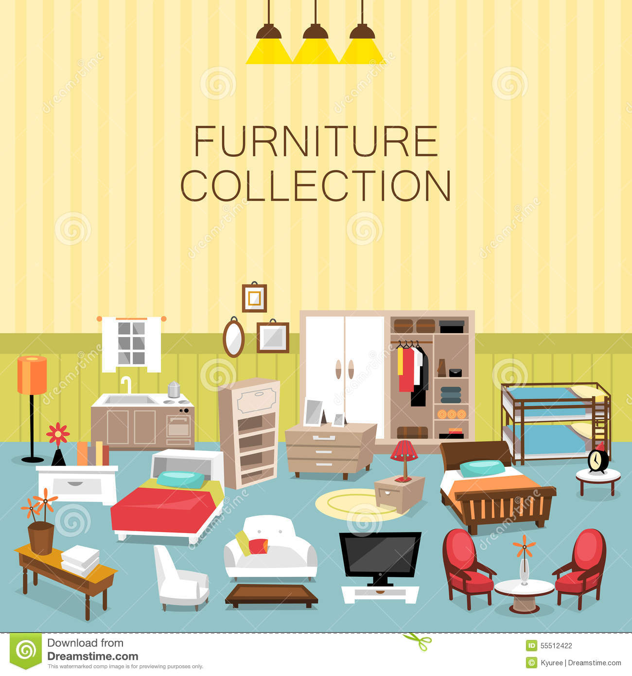 Design element and furniture collection for home interior for Interior design images vector