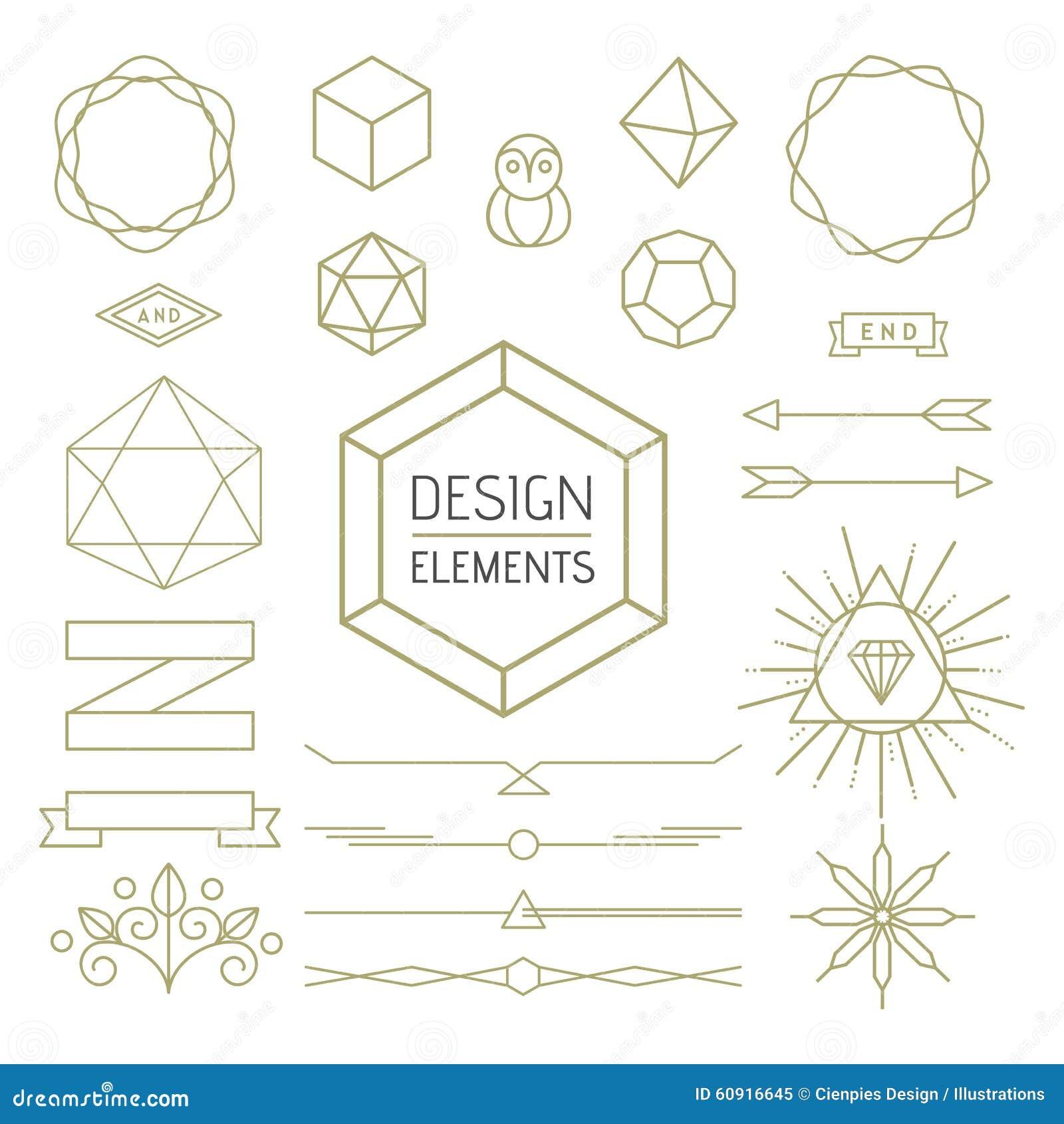 Line Design Art Math : Design element set mono line art geometry symbol stock