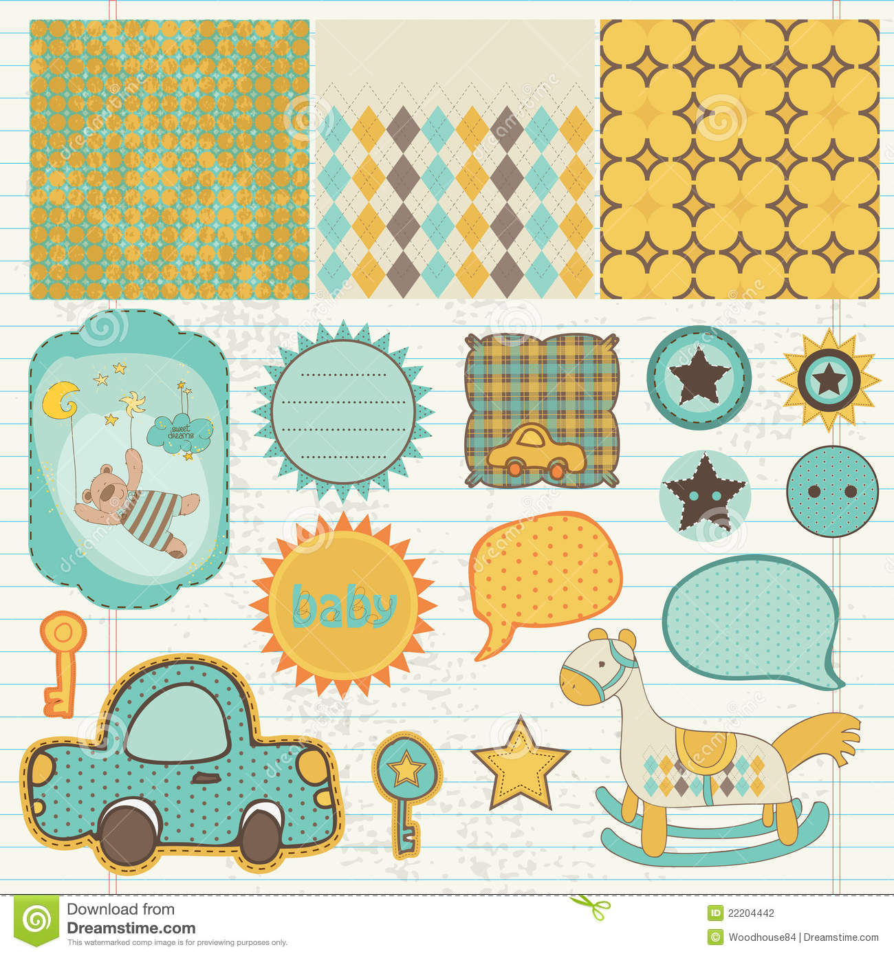 Design Elements For Baby Scrapbook Stock Photography