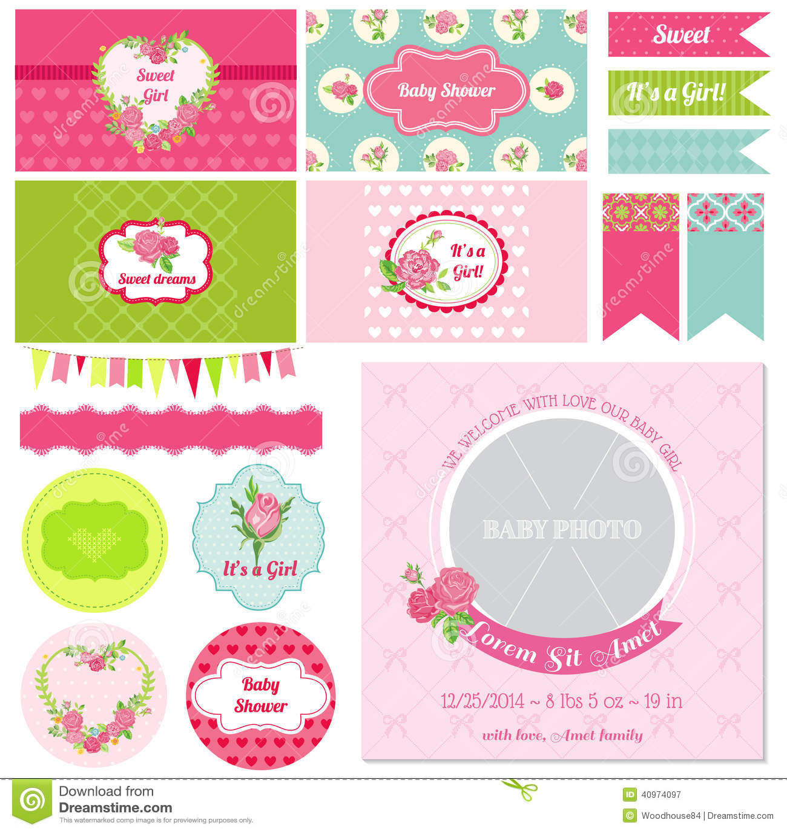 Baby Design Elements Flower Scrapbook Shower ...