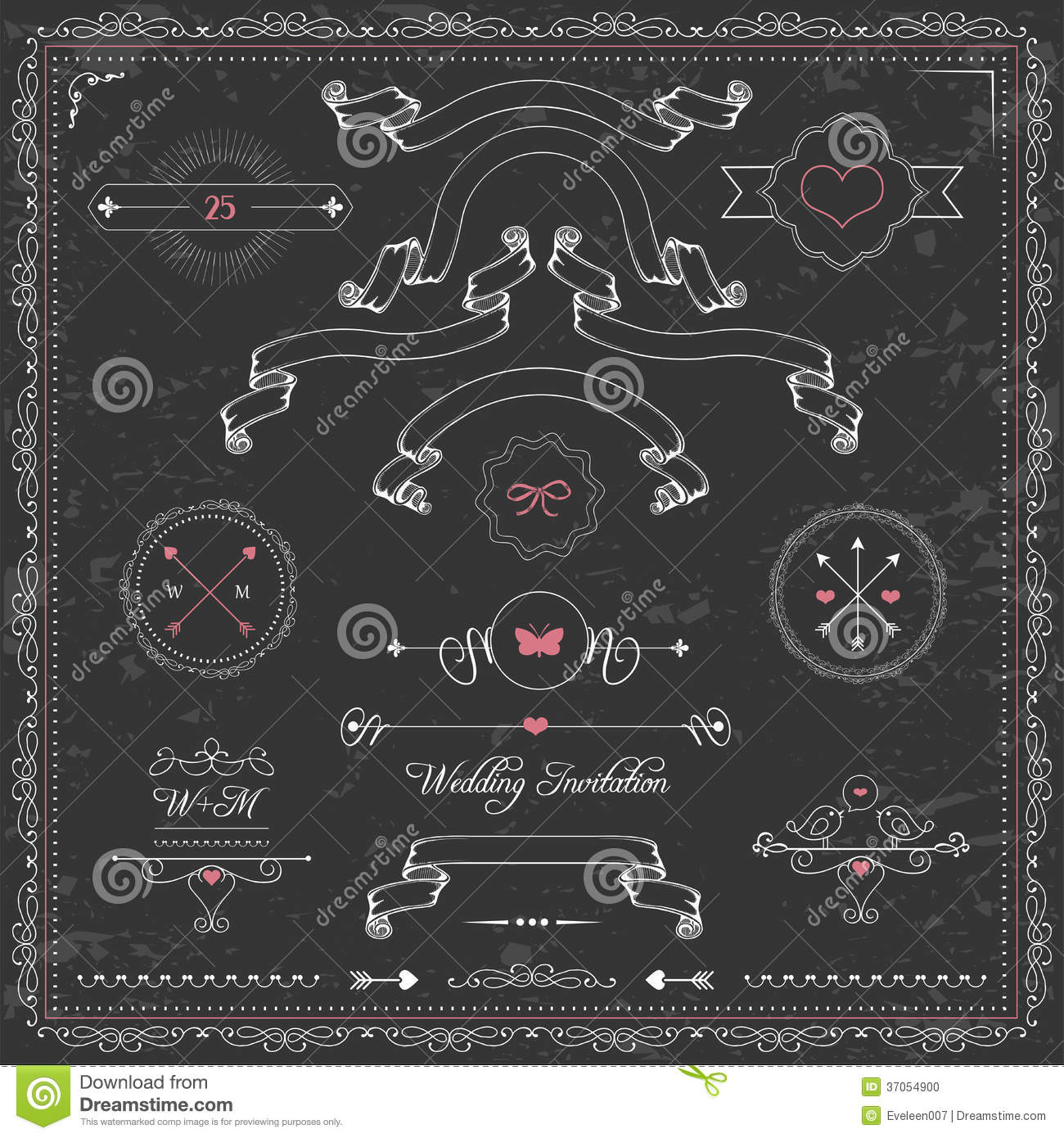 Design Elements Chalkboard Wedding Invitation Stock Vector
