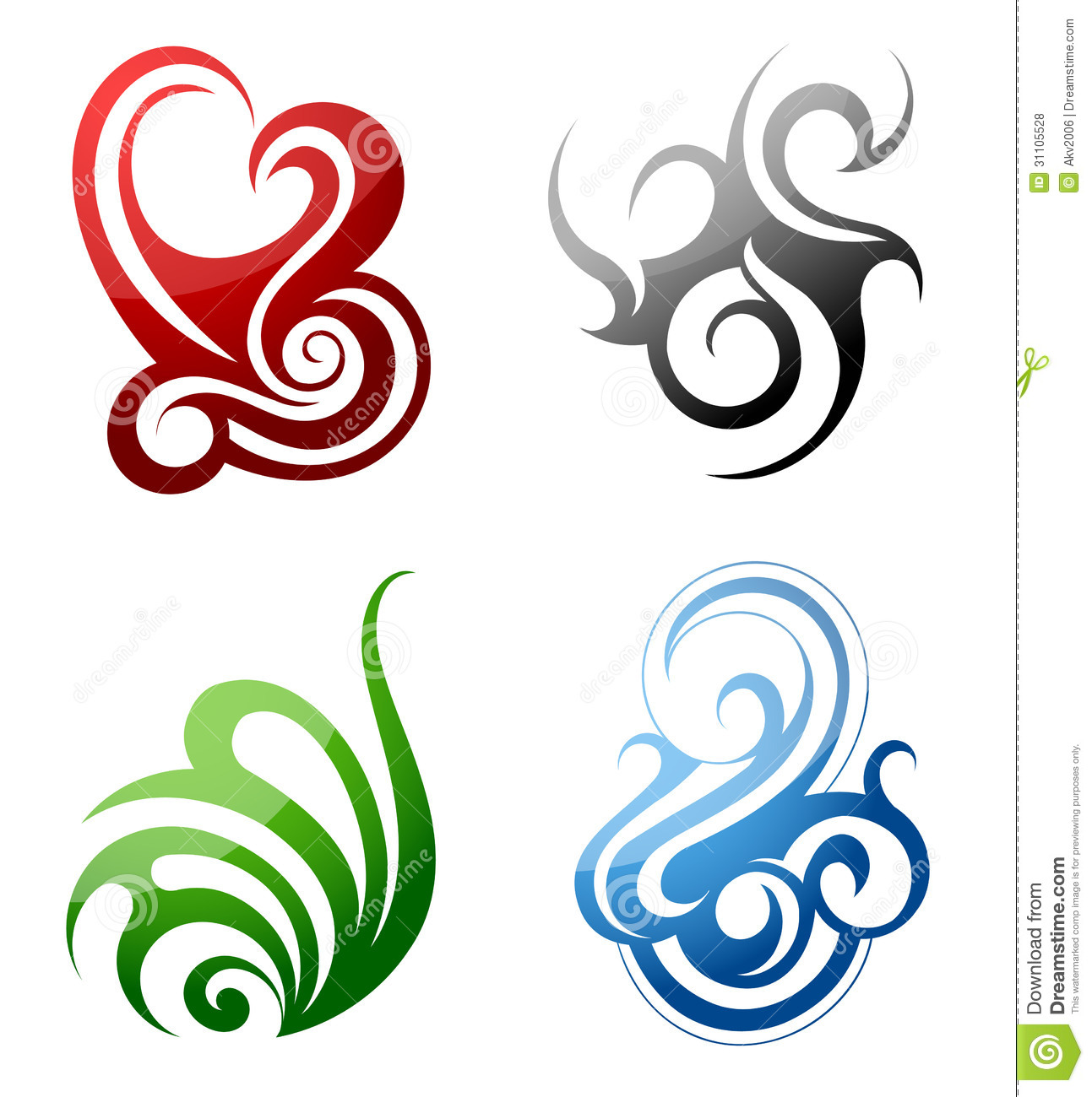 Design Elements Fire Water Grass Wind Stock Vector