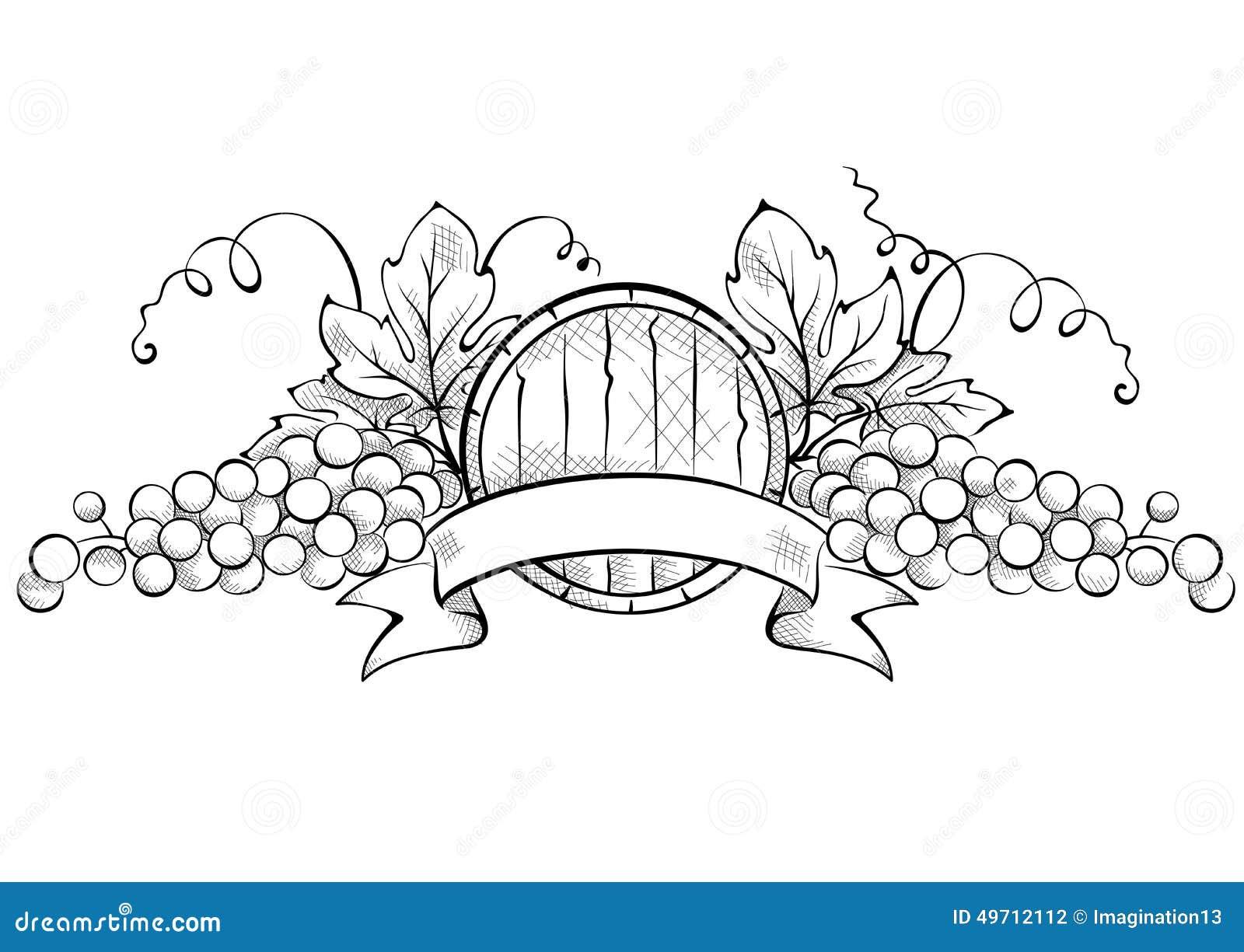 Deco Tonneau De Vin design elements -- grape with ribbon and wine cask stock