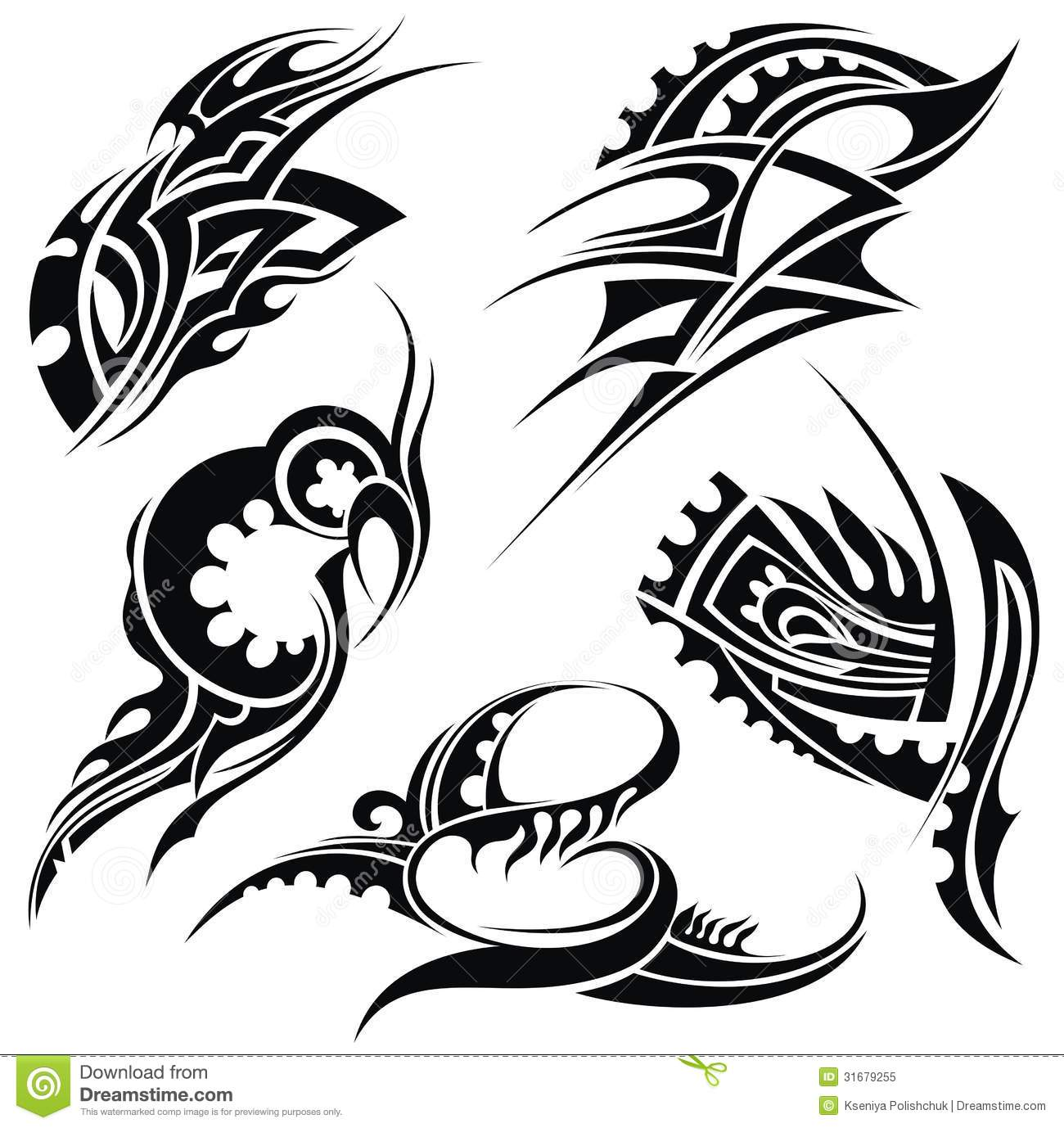 Tattoo Designs Vector Free Download: Design Elements: Tribal Art Stock Vector