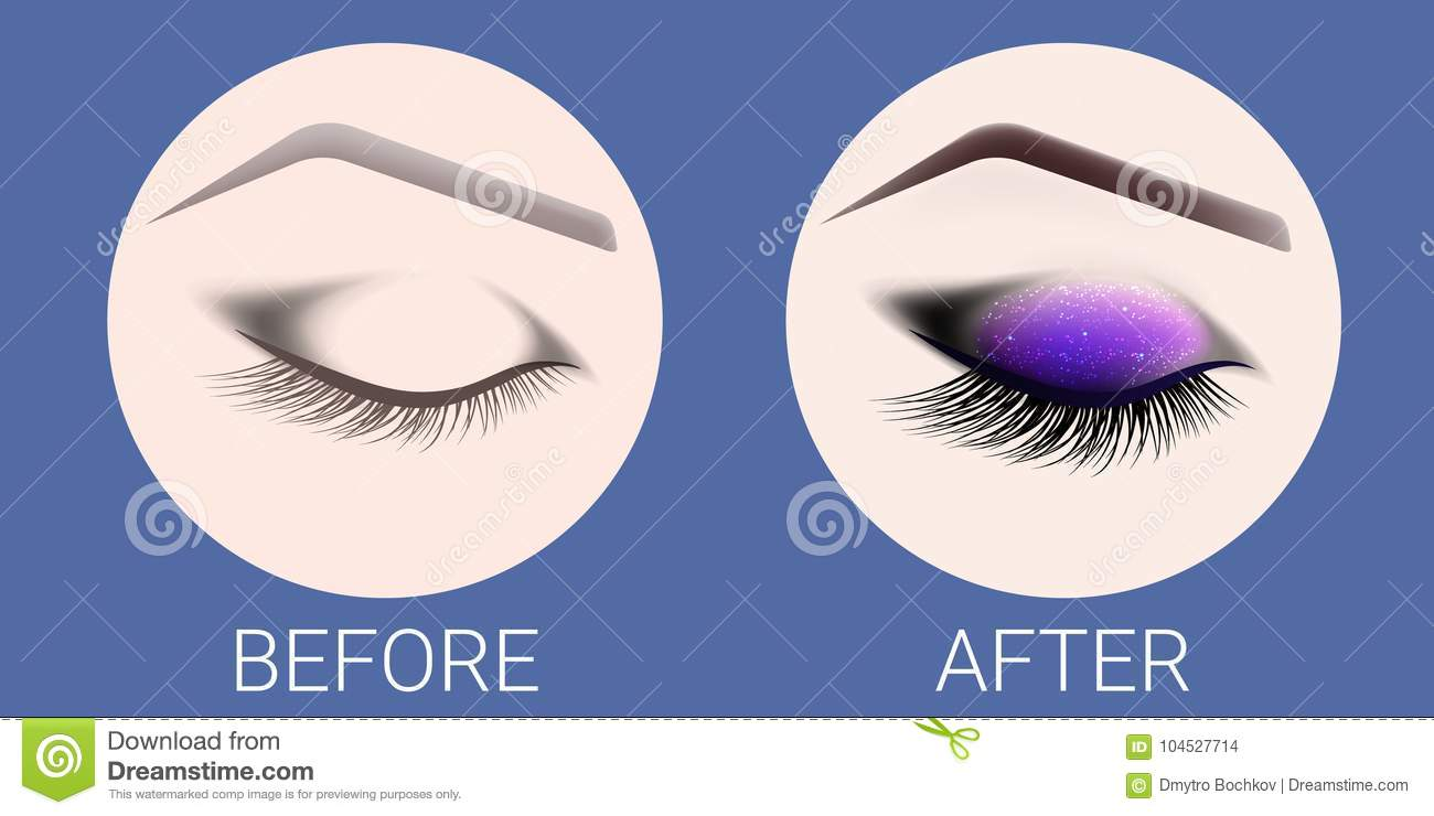 Design Of Eyebrows And Make Up The Closed Female Eye Before And