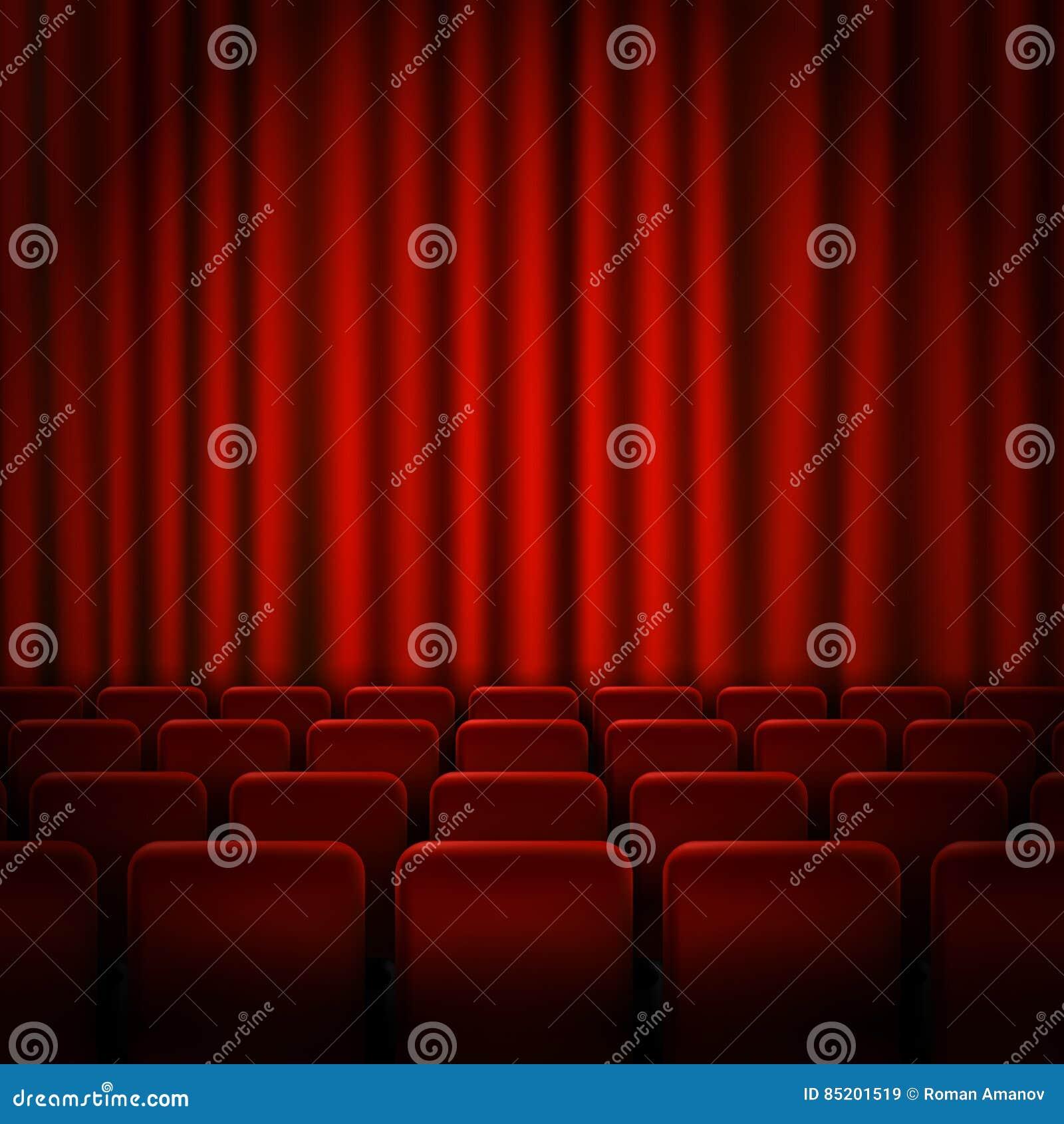 Design för affisch för filmbiopremiär med röda gardiner i lager vektor för baner eps10 mapp