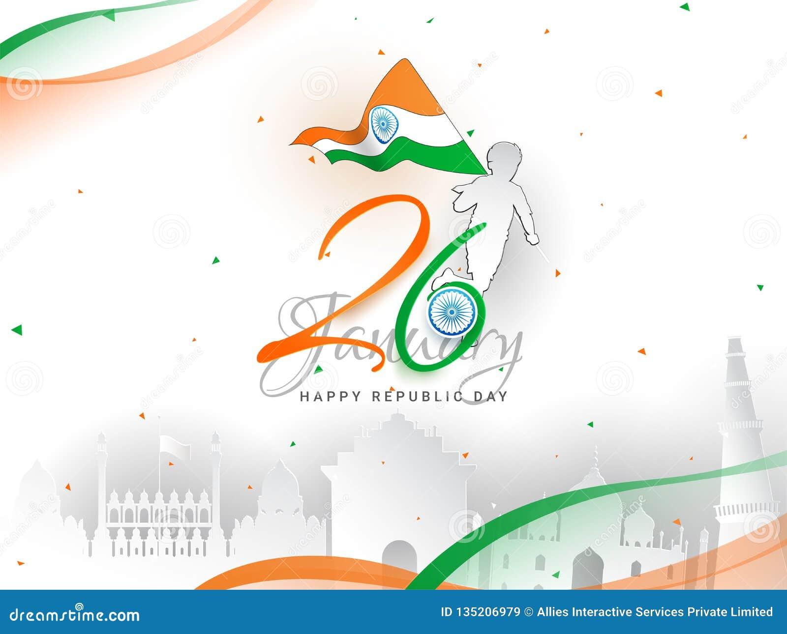 26 design för baner eller för affisch för beröm för Januari republikdag, pojkeinnehavnationsflagga och berömd indisk monumentillu