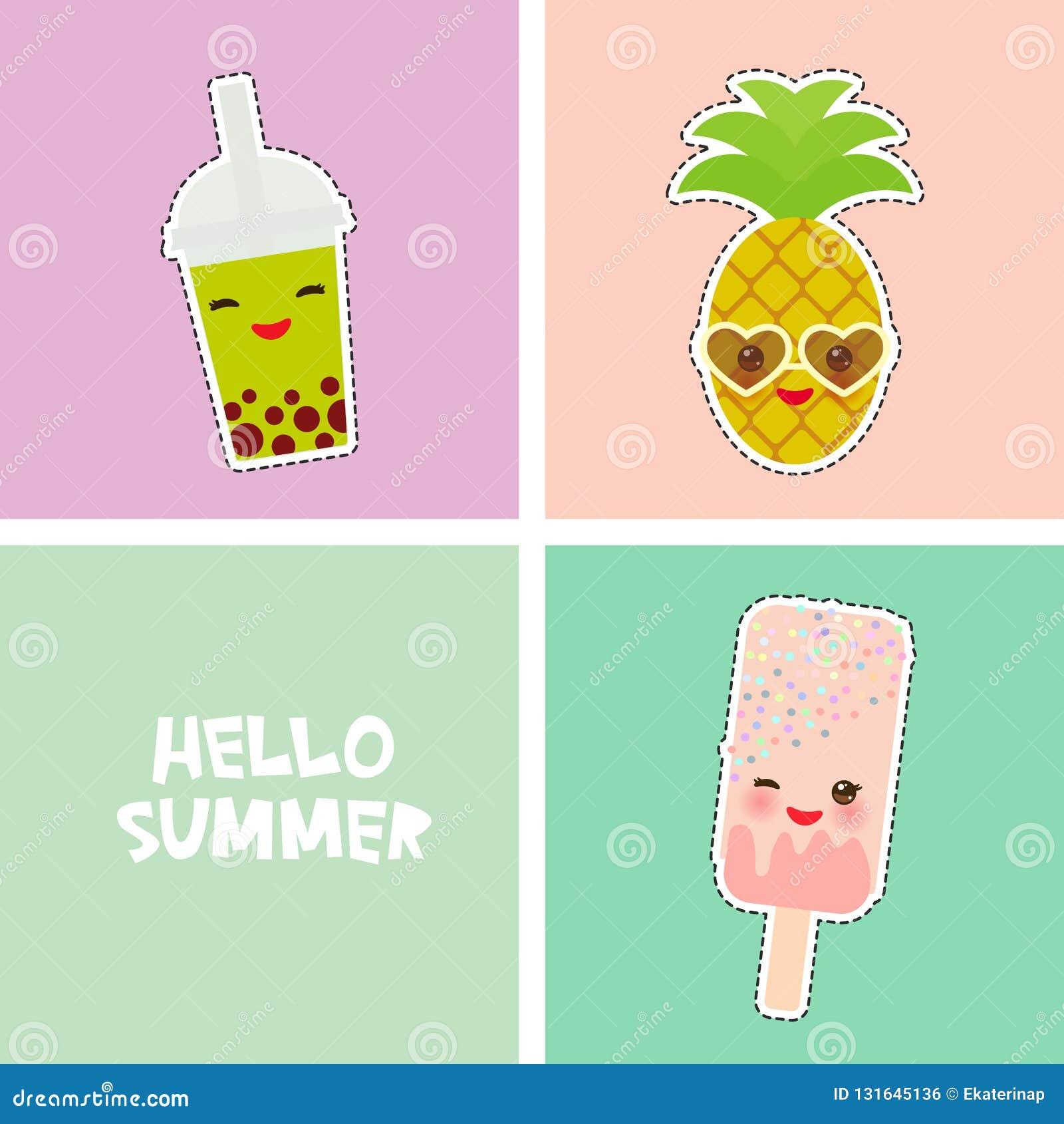 Design för baner för kort för Hello sommar ljus tropisk, klistermärkear för modelappemblem ananas smoothiekopp, glass, bubblate