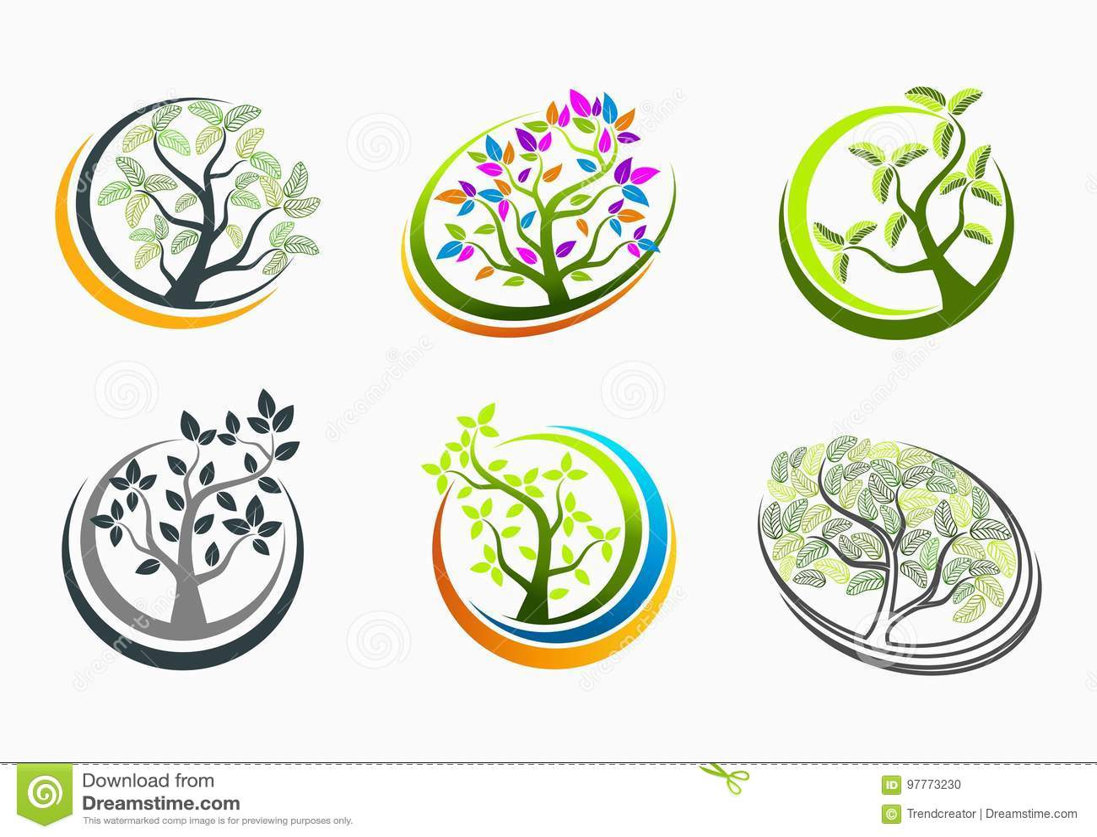 Design för begrepp för trädhälso-, logo-, natur-, brunnsort-, tecken-, massage-, symbols-, växt-, symbol-, yoga- och tillväxtutbi
