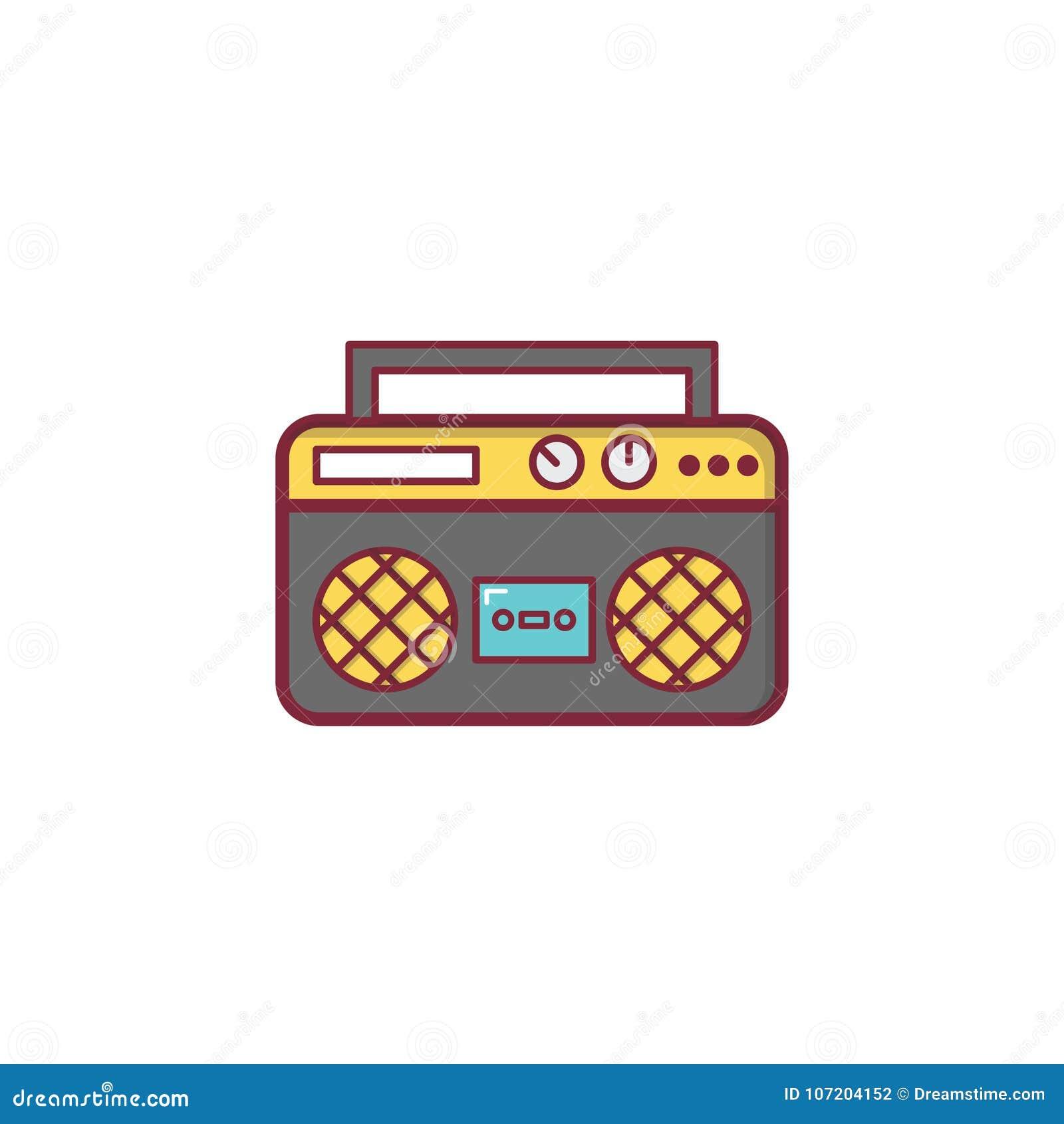 Design för beståndsdel för illustration för symbol för radiomusiklägenhet
