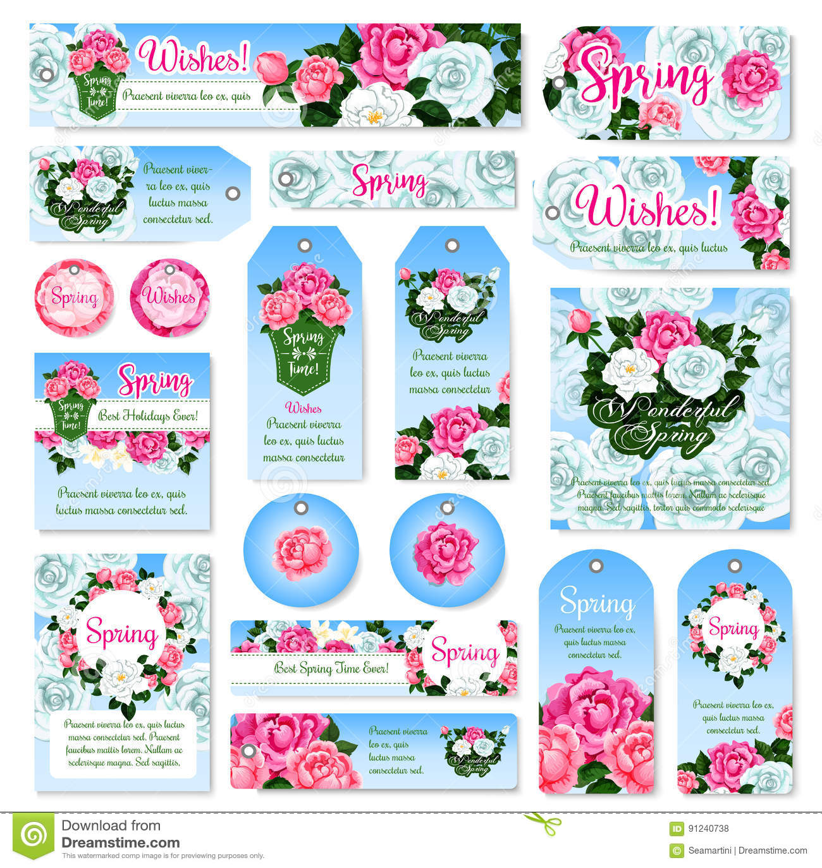 Design för etikett och för etikett för gåva för vårrosblomma fastställd