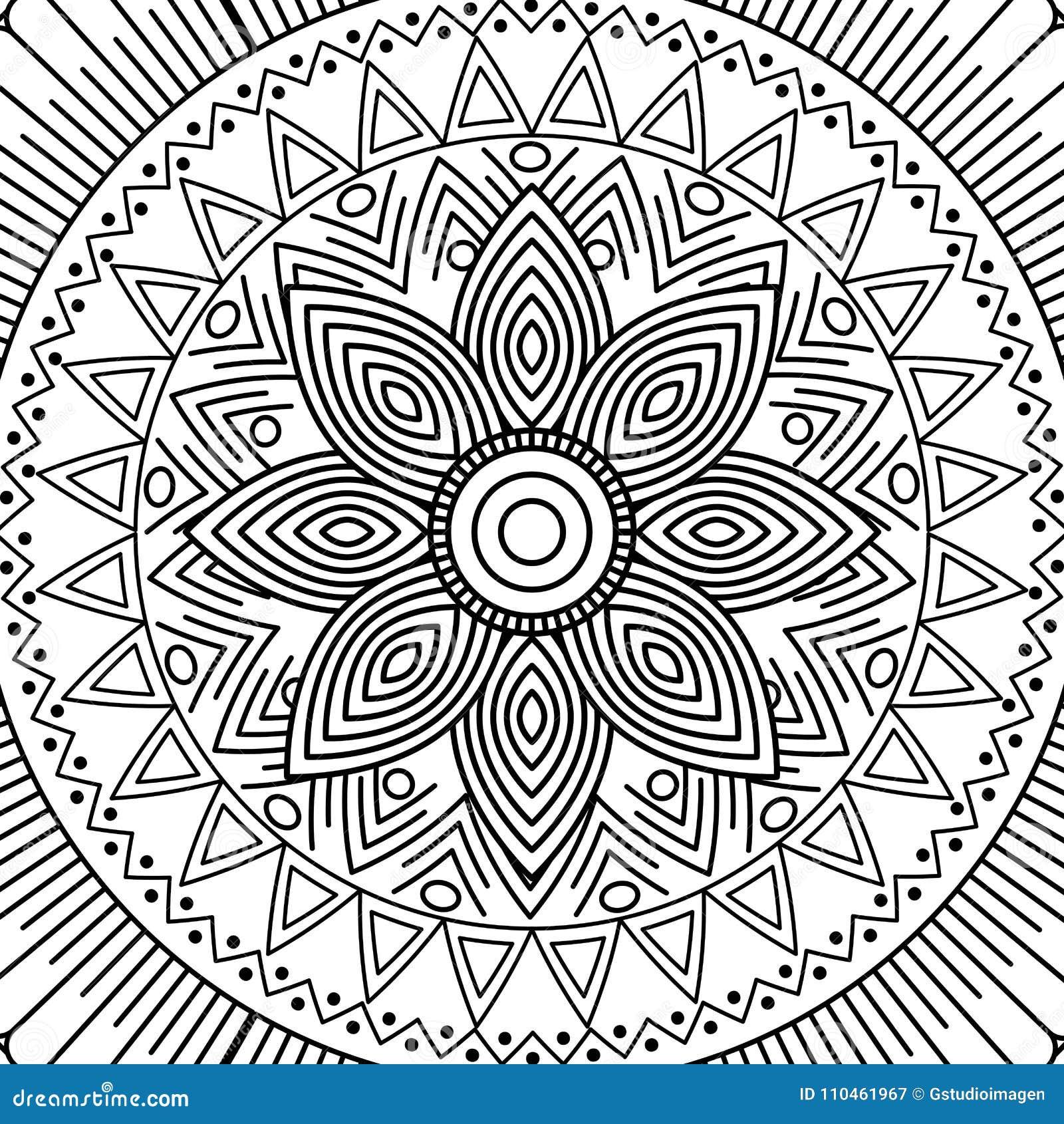Design för färgläggning för blom- dekorativ etnisk beståndsdel för Mandala vuxen