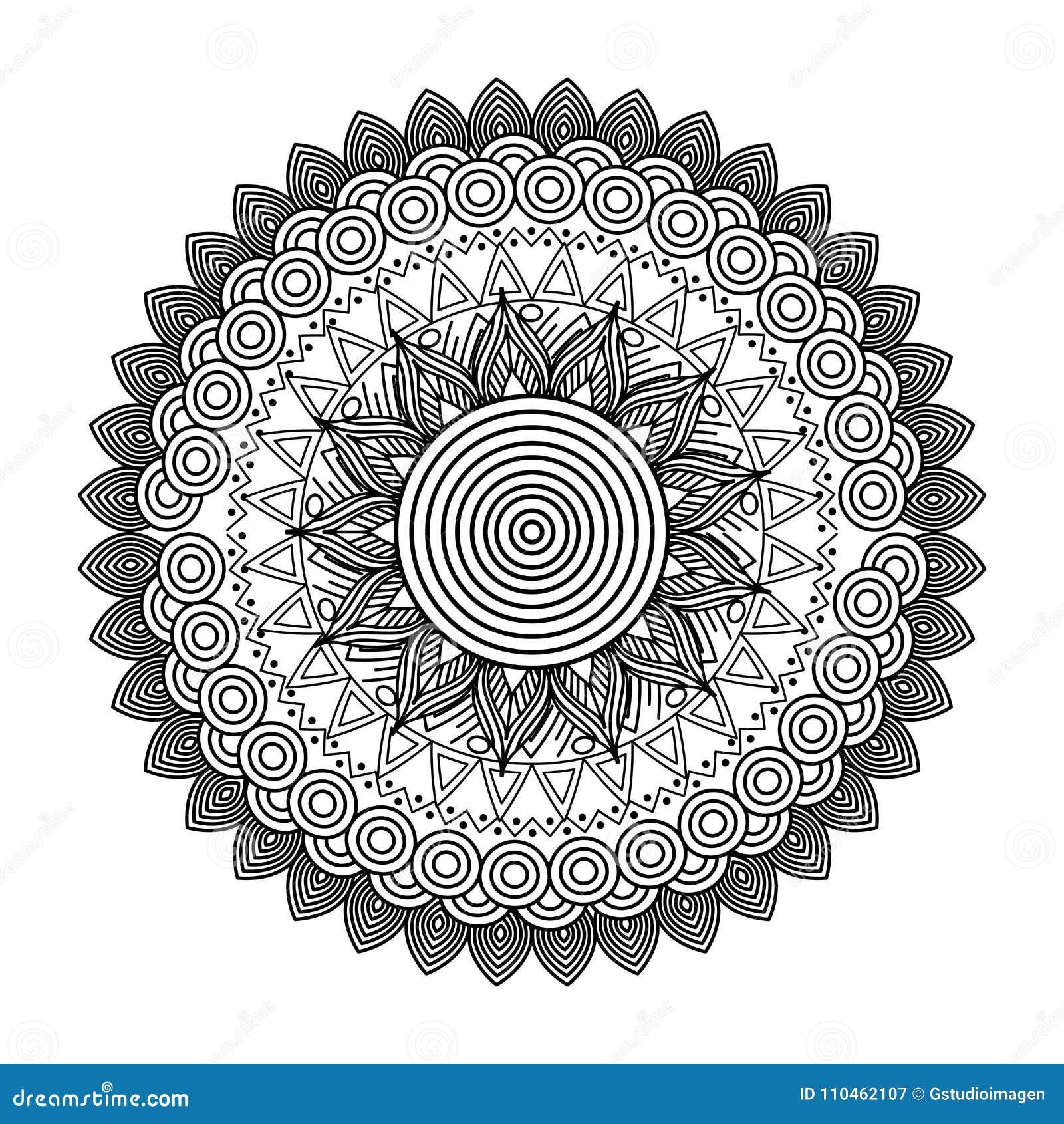 Design för färgläggning för rund blom- beståndsdel för mandala dekorativ etnisk vuxen