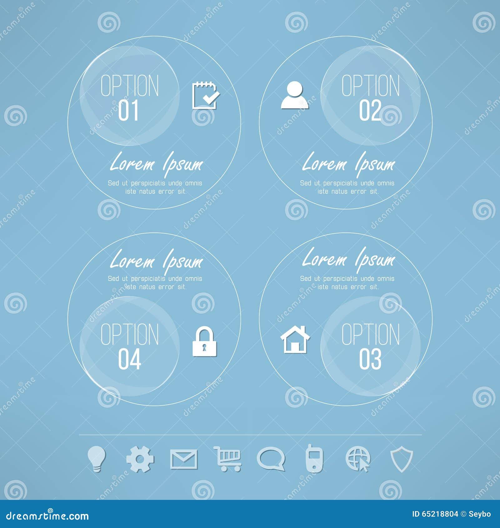Design för glas- cirklar för vektor passande infographic