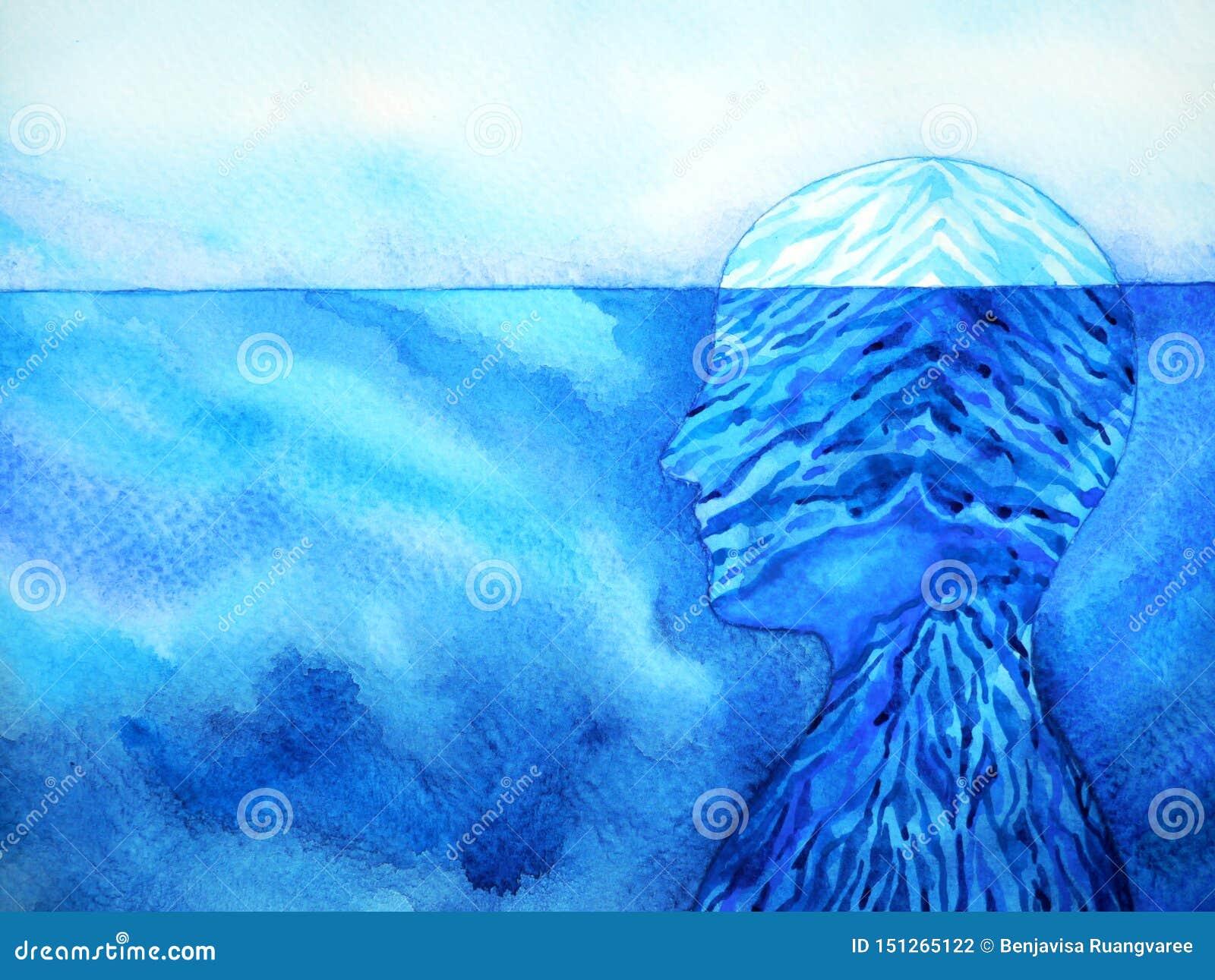 Design för illustration för målning för vattenfärg för abstrakt för isberg mening för mänskligt huvud mental andlig