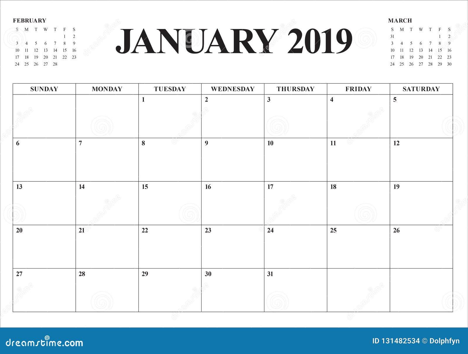 Design för illustration för vektor för Januari 2019 skrivbordkalender enkel och ren,