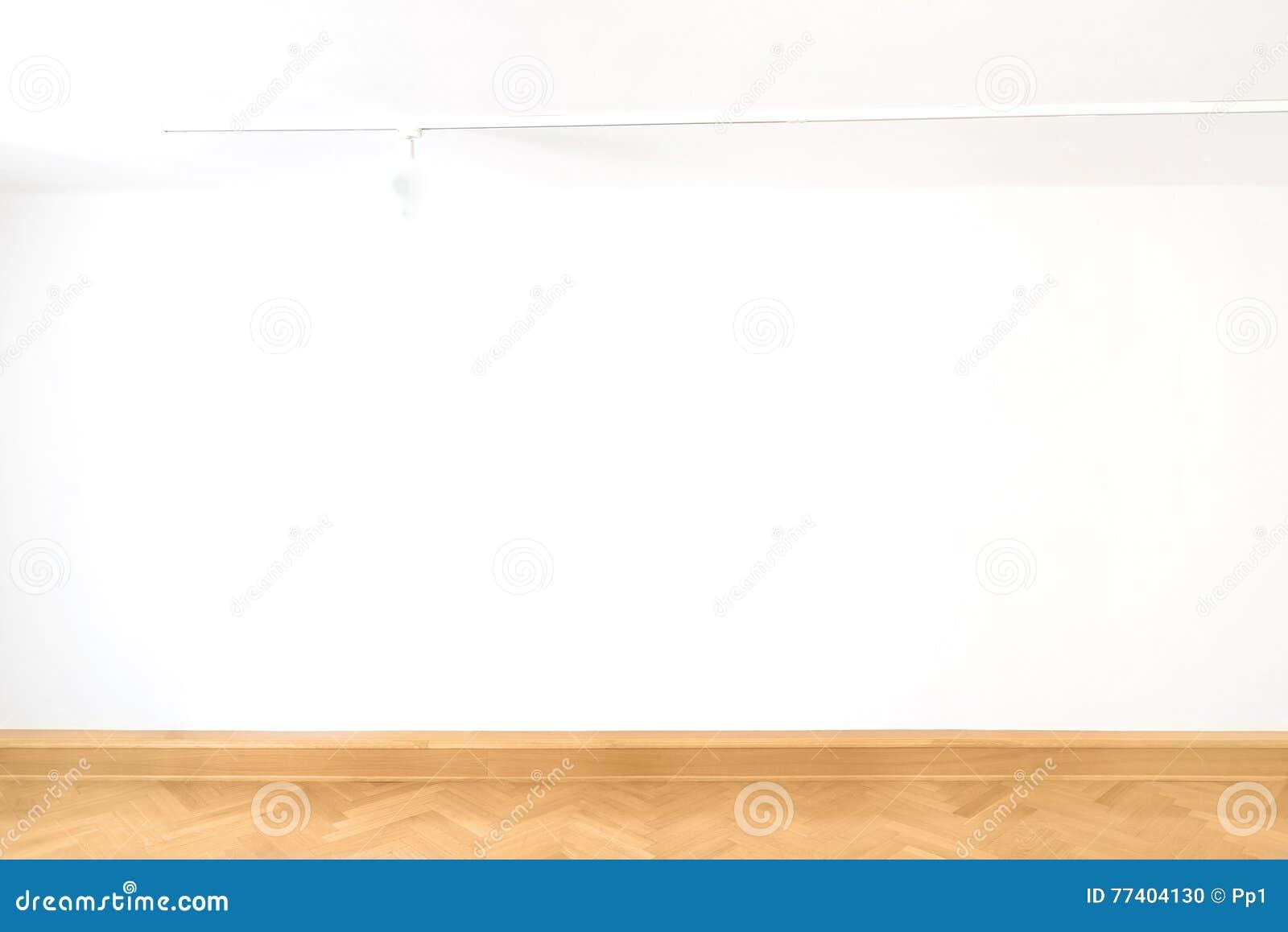 Design för inre för parkett för golv för vitt för kub tomt för tom vägg rum för konstgalleri wood