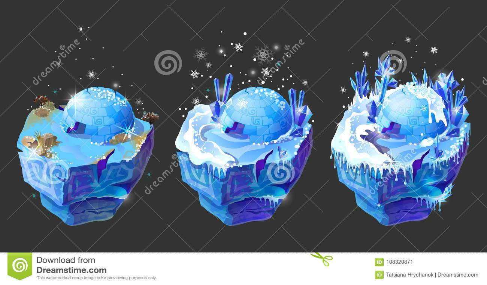 Design för isometrisk för fantasi 3d för vektor modig ö för is