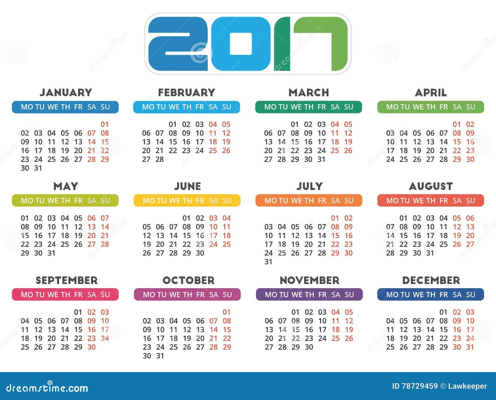 Design för kalender 2017