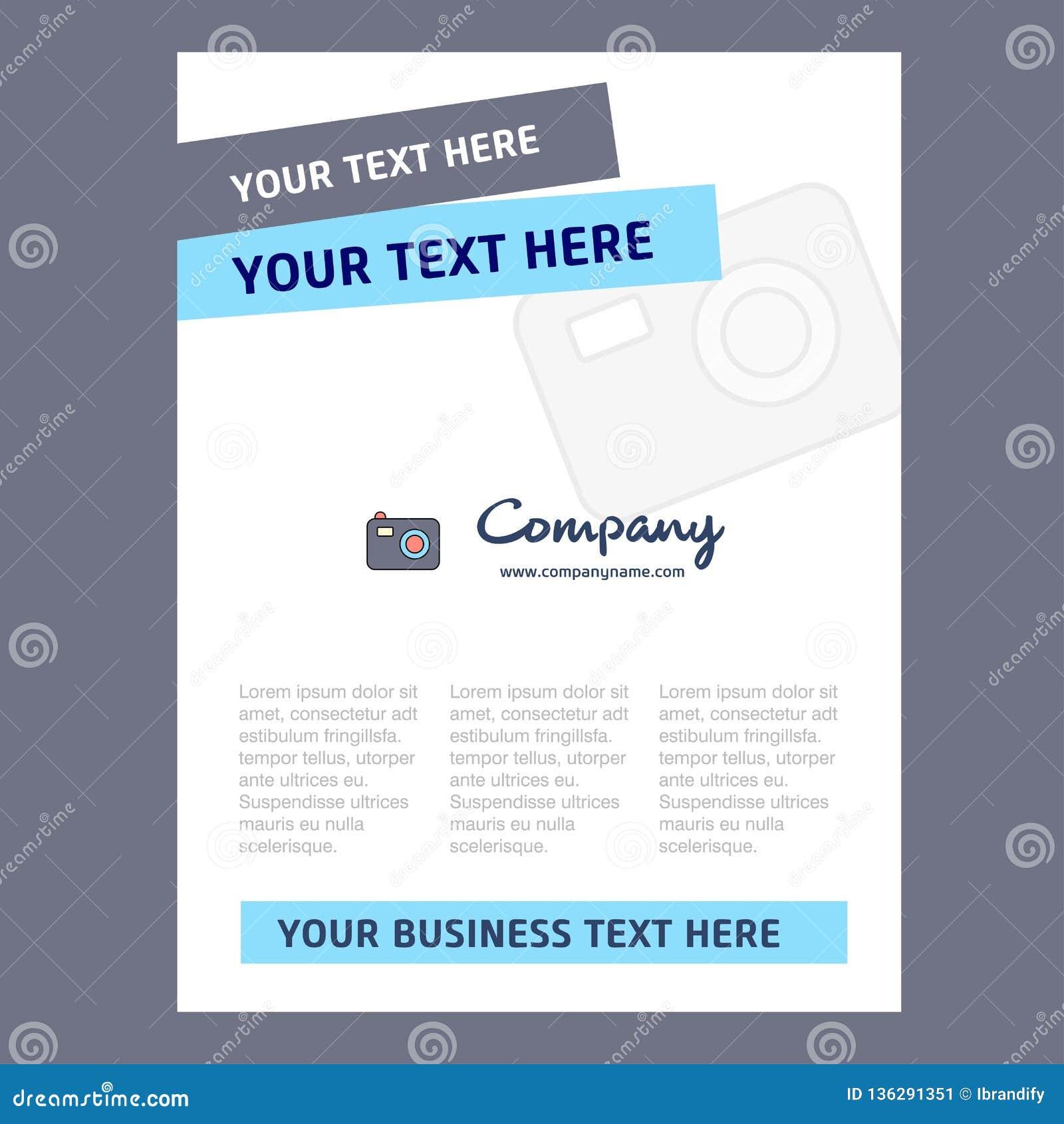Design för kameratitelsida för företagsprofilen, årsrapport, presentationer, broschyr, broschyrvektorbakgrund