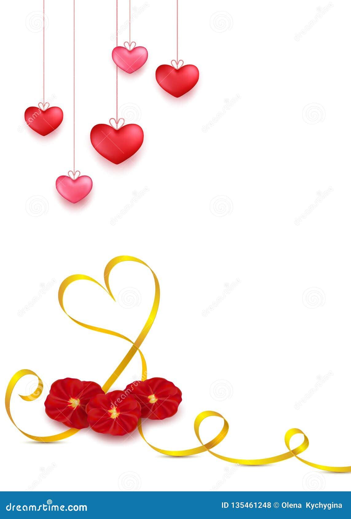 Design för kort för valentindaghälsning i stil 3d på vit bakgrund Hängande röda hjärtor med det guld- bandet och röd rosa kronbla