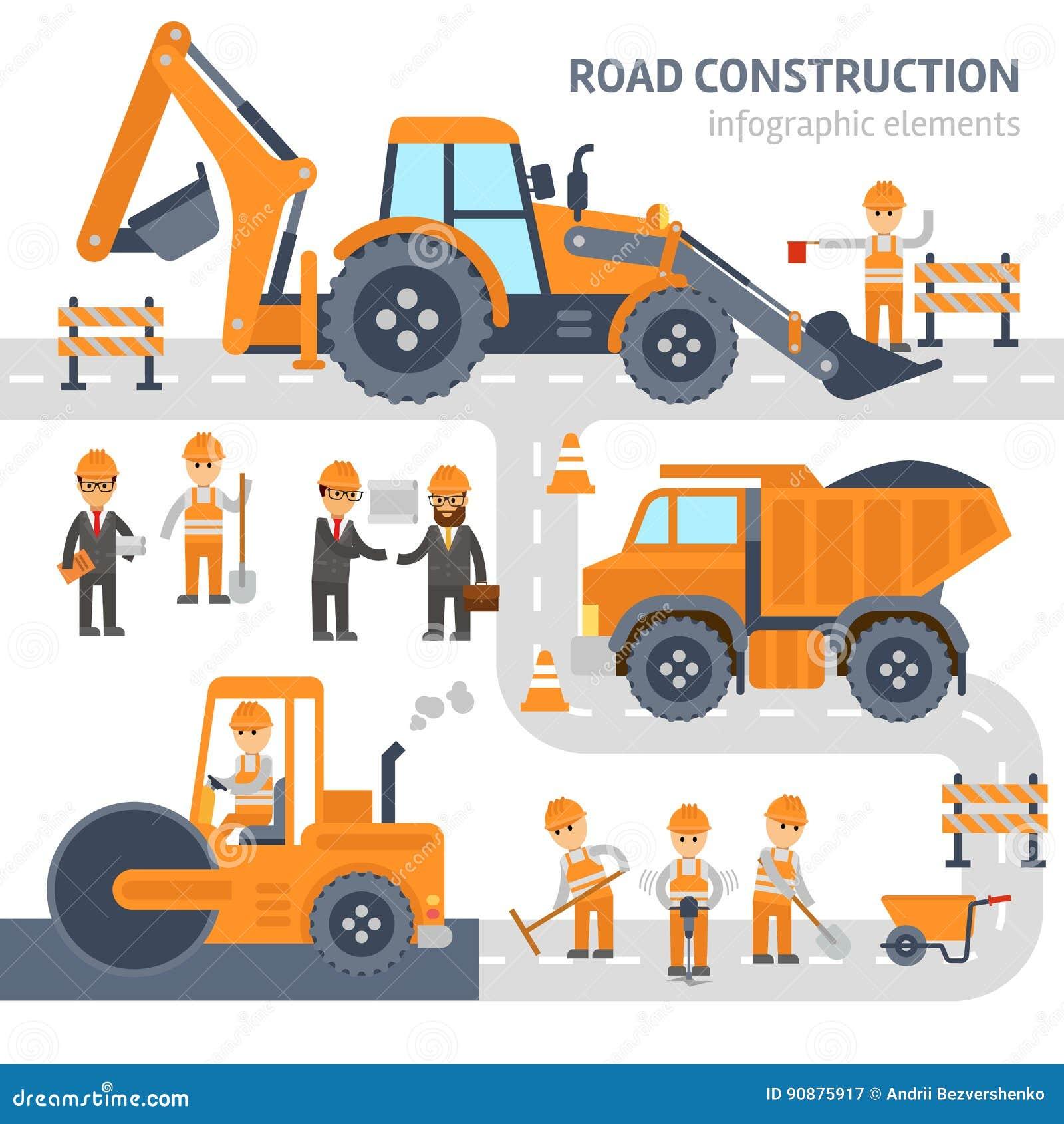 Design för lägenhet för vektor för beståndsdelar för vägkonstruktion infographic Konstruktion arbetare, grävskopa, rulle, bulldoz