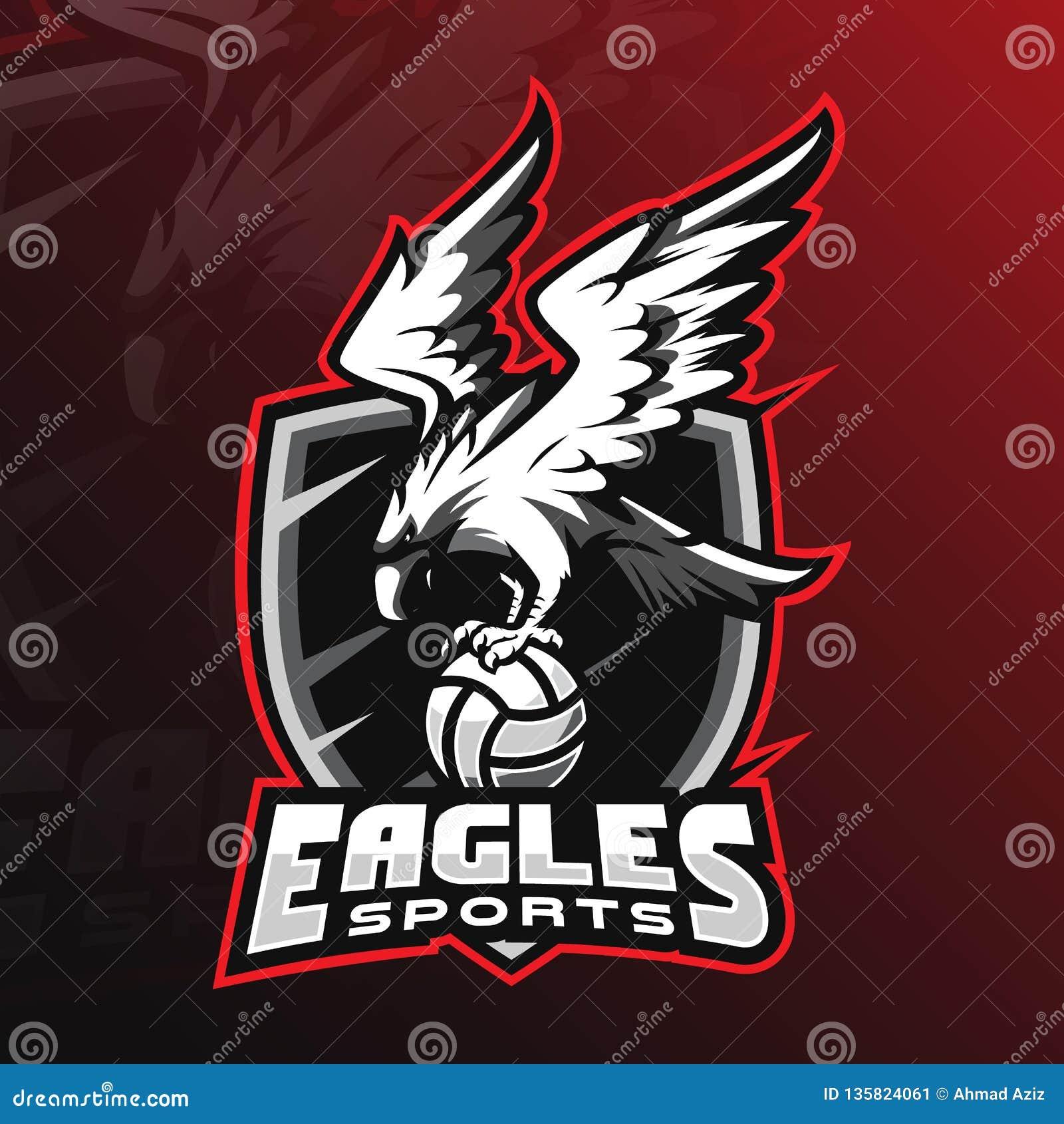 Design för logo för Eagle vektormaskot med modern illustrationbegreppsstil för emblem-, emblem- och tshirtutskrift Ilsken örn