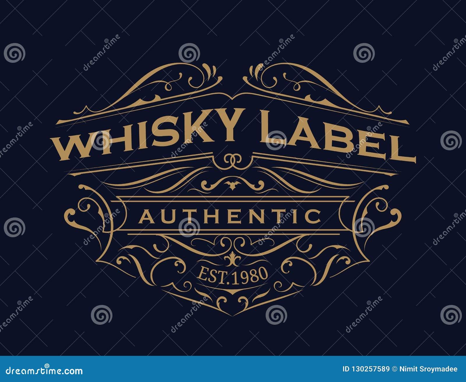 Design för logo för ram för tappning för typografi för whiskyetikett antik