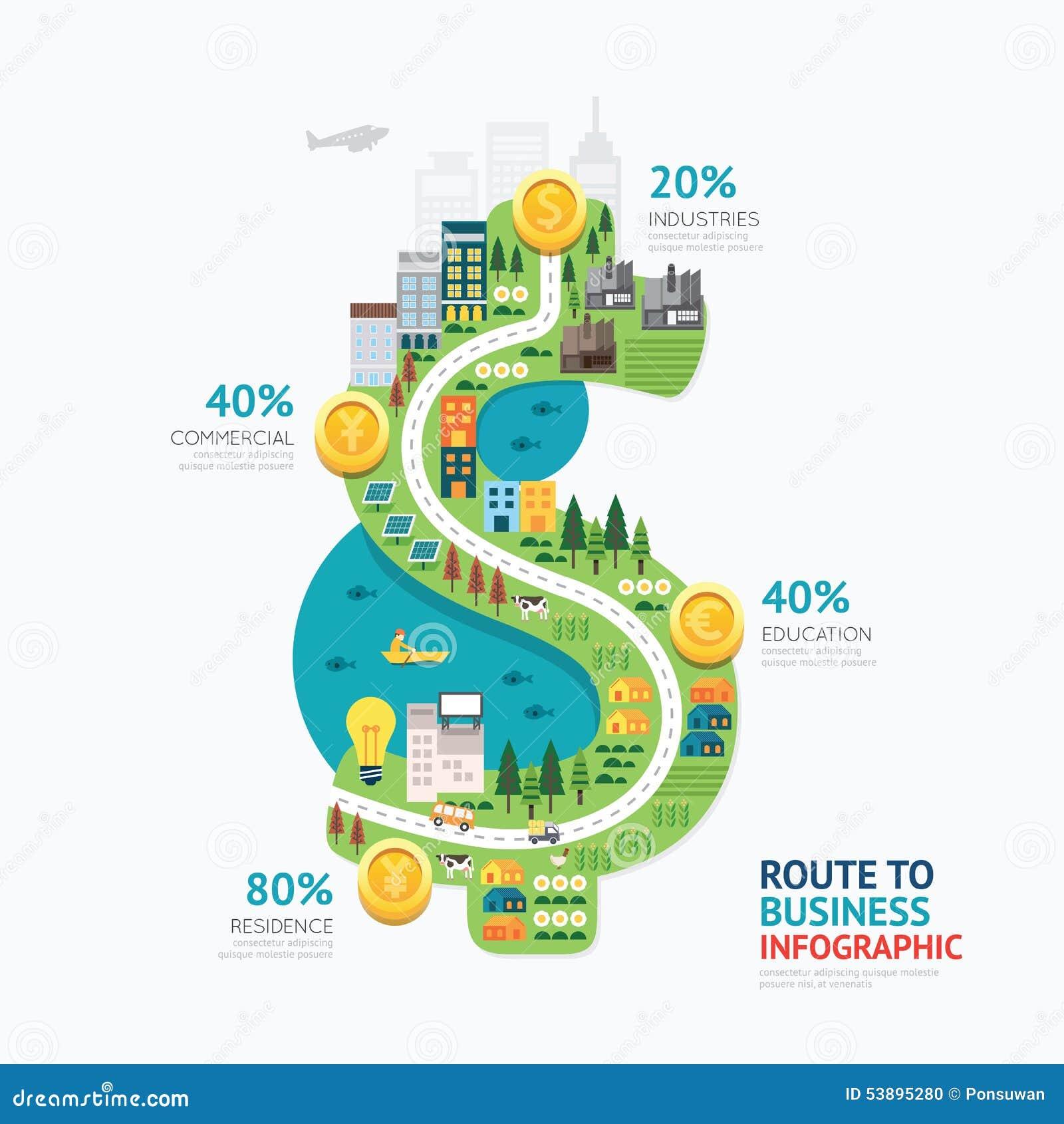 Design för mall för form för dollar för Infographic affärspengar rutt till