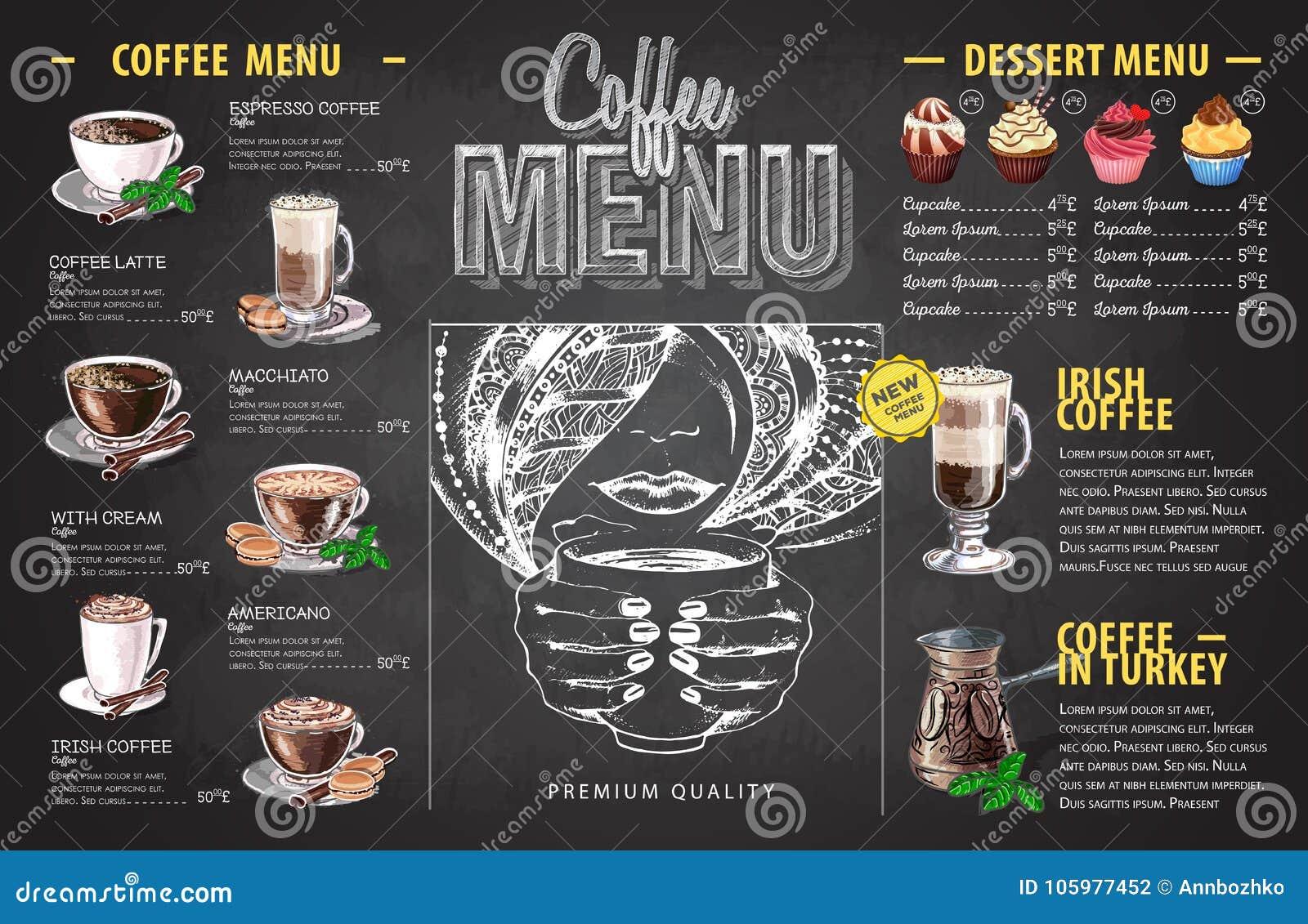 Design för meny för kaffe för tappningkritateckning For på vitbakgrund
