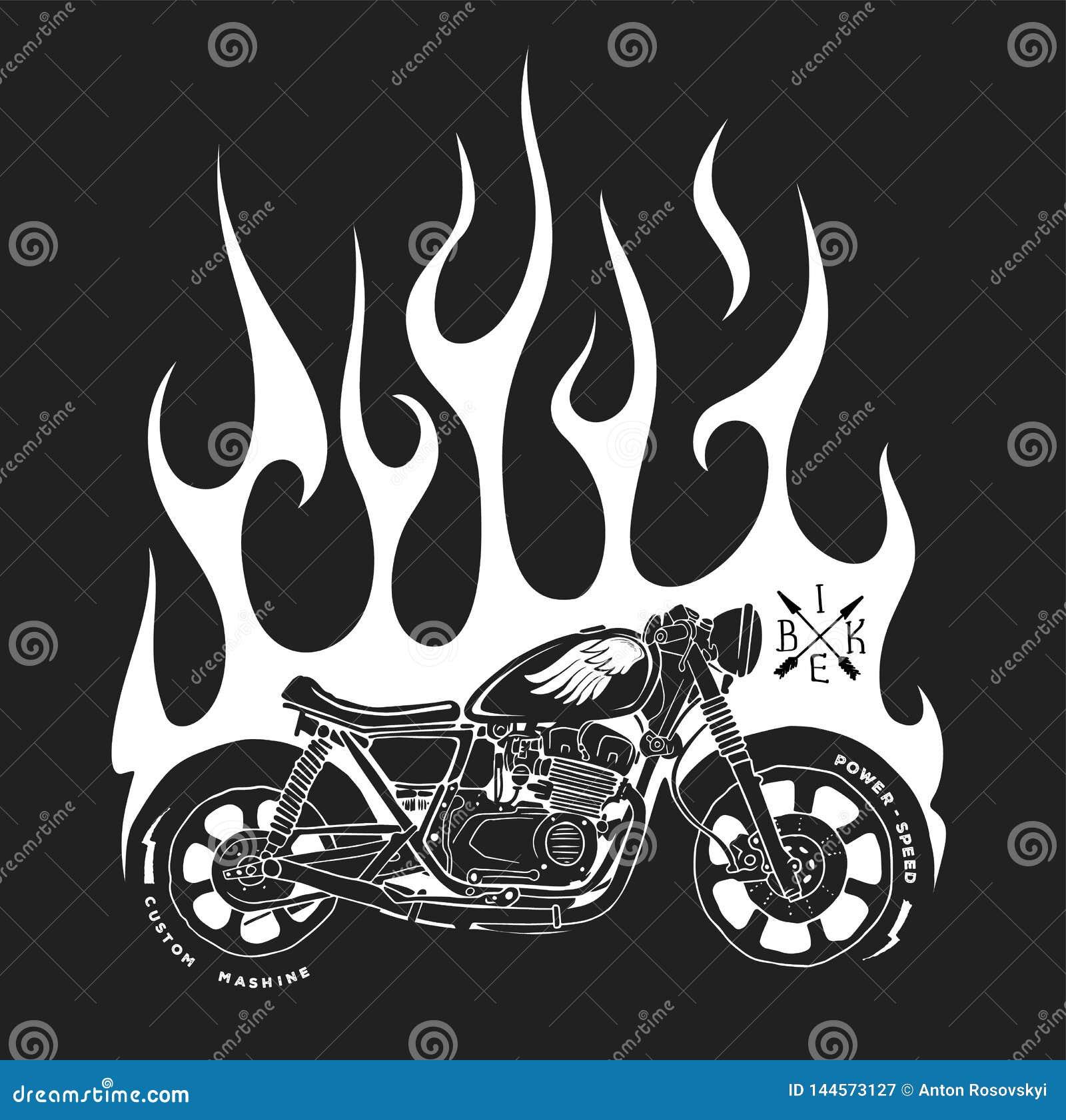 Design för motorcykel- och brandvektort-skjorta tryck