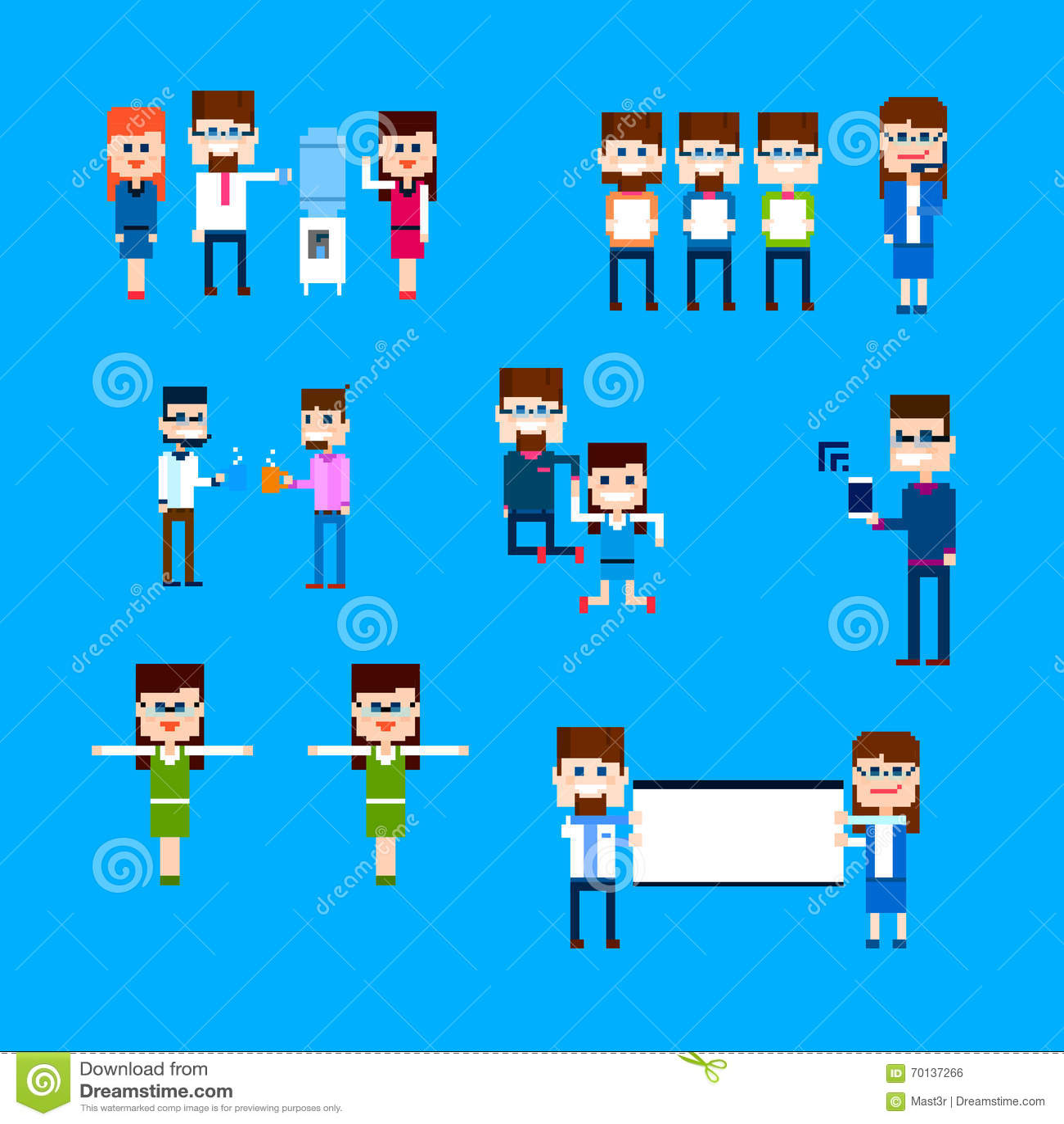 Design för PIXEL för uppsättning för aktivitet för arbetare för kontor för grupp för affärsfolk